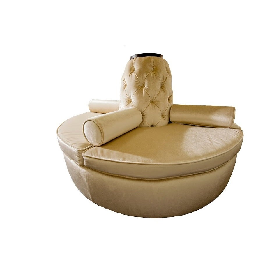 beige microfiber blend wood round settee sofa  free shipping today overstockcom  . beige microfiber blend wood round settee sofa  free shipping