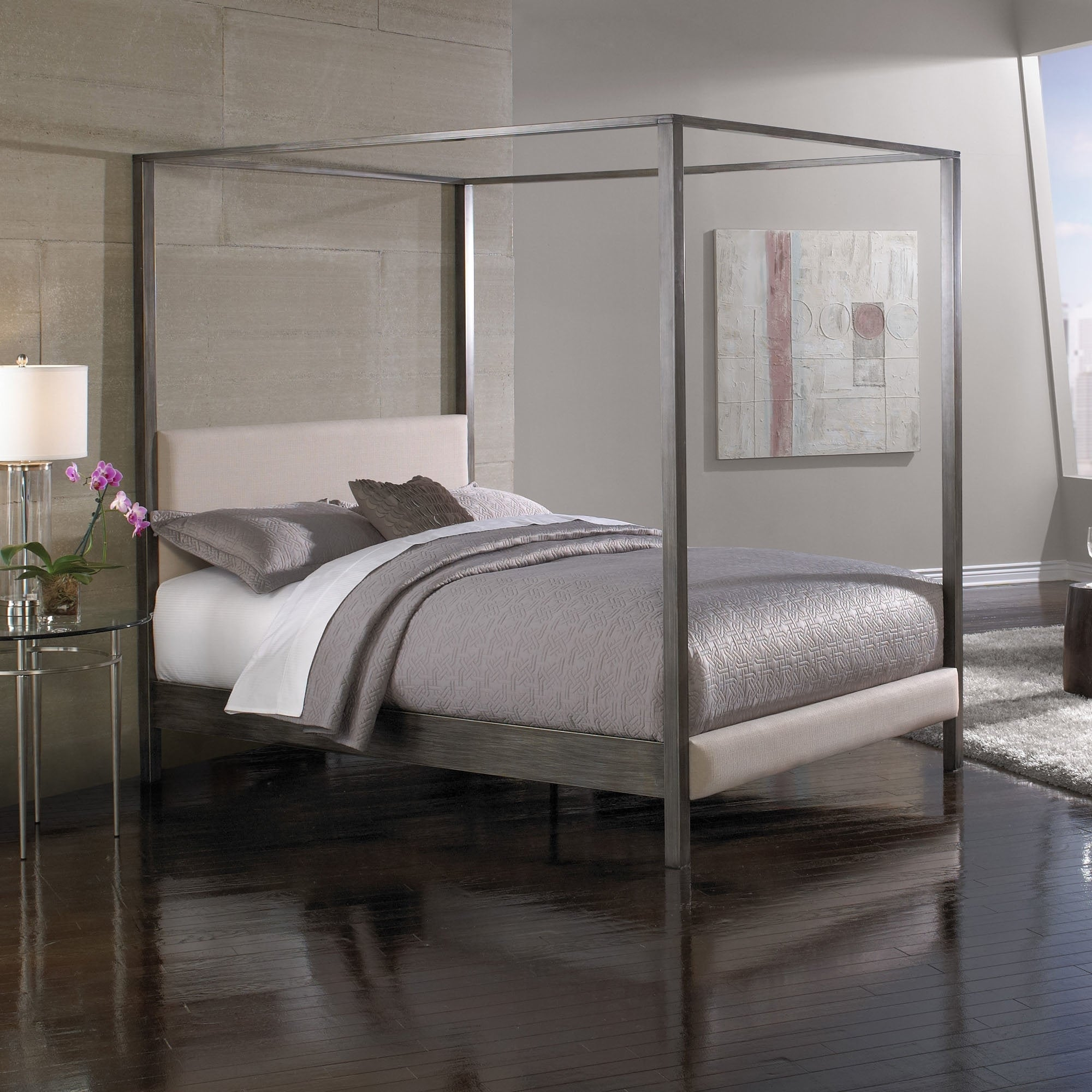 canopy bed posts. Fashion Bed Group Avalon Canopy Platform In Dark Silver Finish Upholstered Headboard  Home design ideas