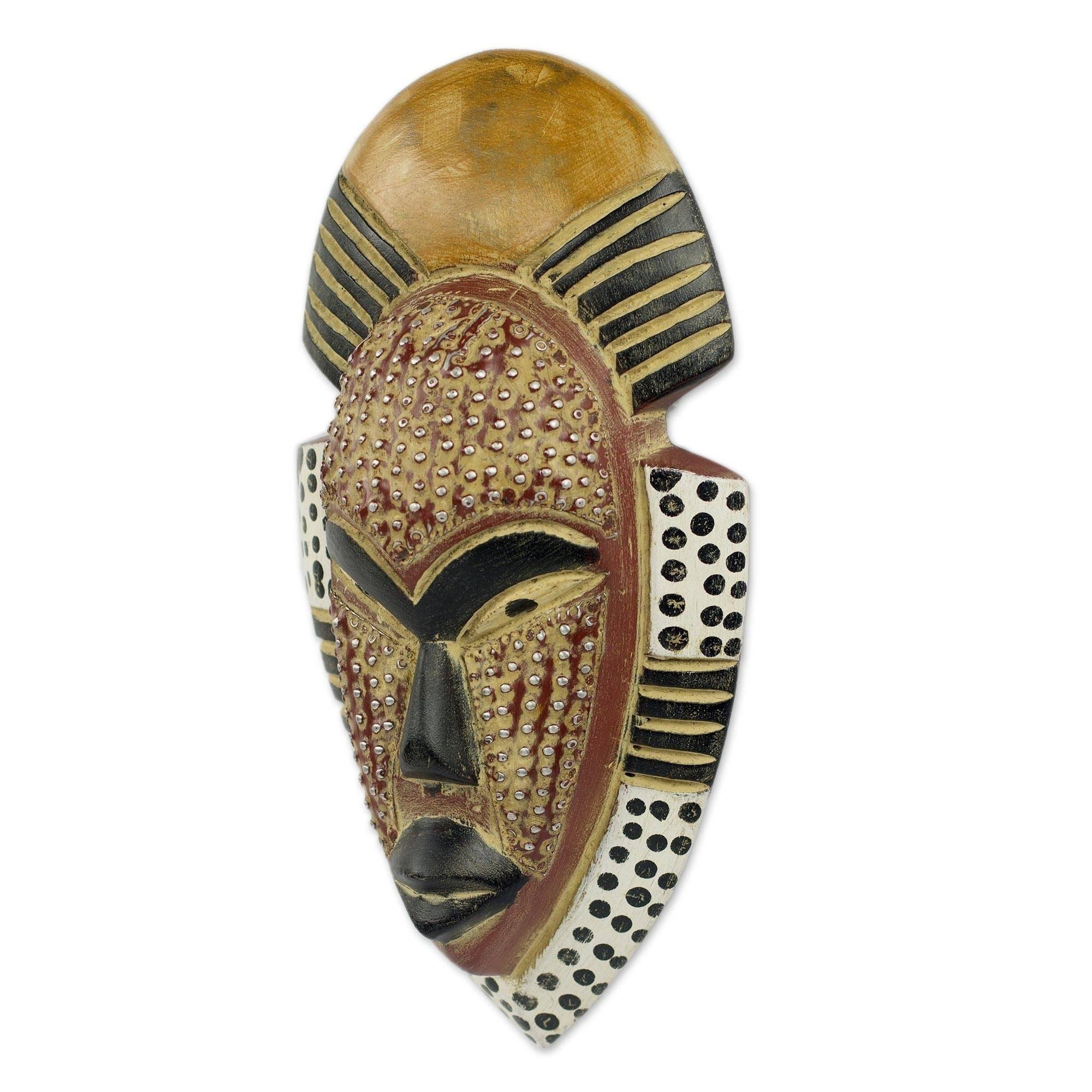 Handcrafted African Wood 'Ghana's Happiness' Mask (Ghana)