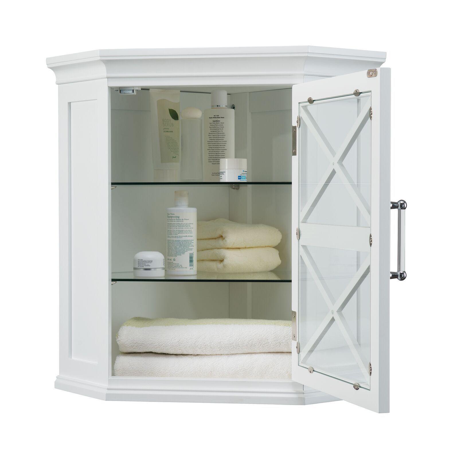 Bathroom Cabinet // Bathroom Storage Cabinet Grayson White Corner Wall Cabinet in Modern Style.
