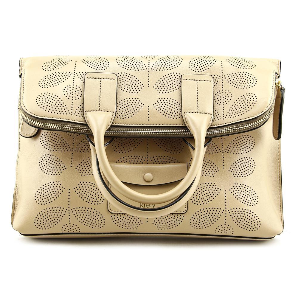 Shop Orla Kiely Womens 60s Stem Punched Beige Leather Juniper Bag Clutch Black Free Shipping Today 12007795