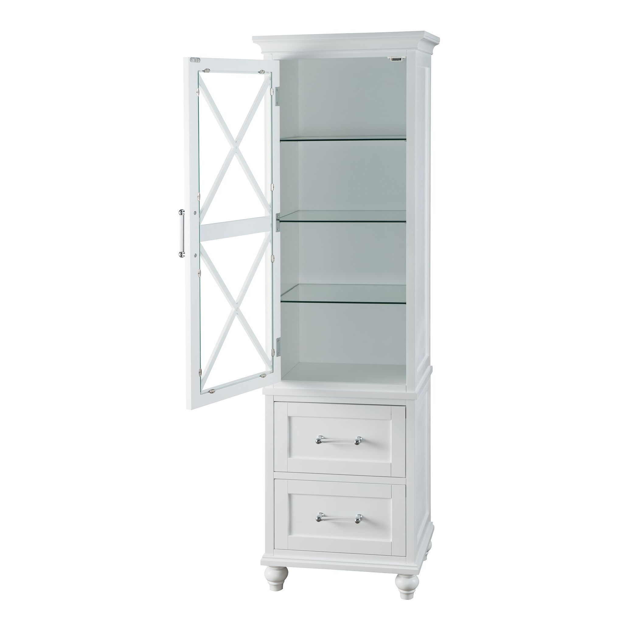Grayson White Linen Tower with 2 Drawers and Chrome Hardware by