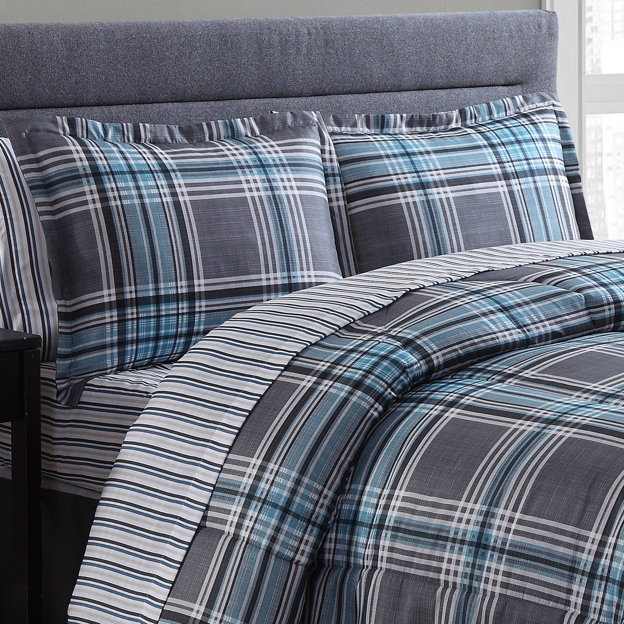 par green comforter set plaid blue