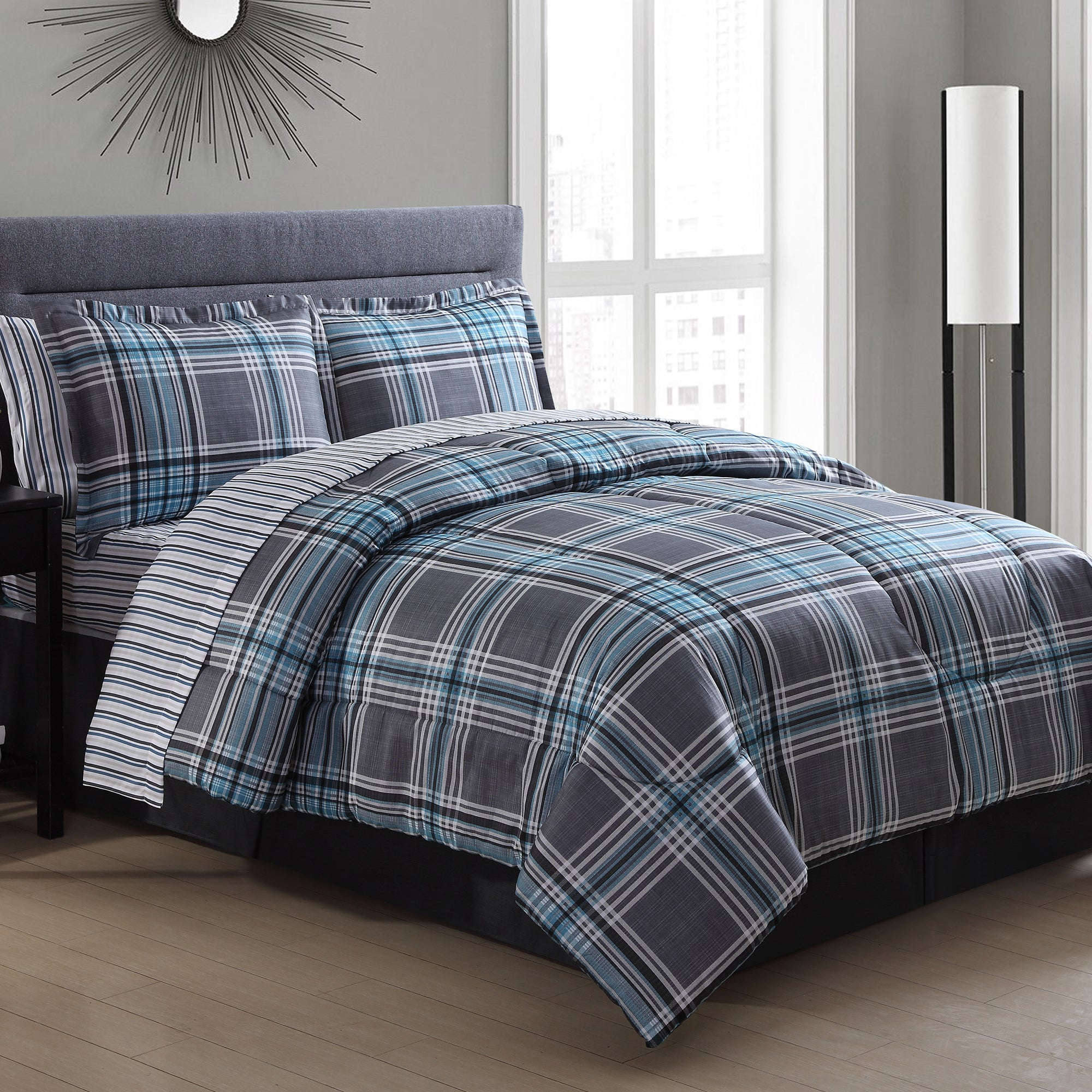 Shop Chelsea Blue Plaid Bed In A Bag Comforter Set Free Shipping