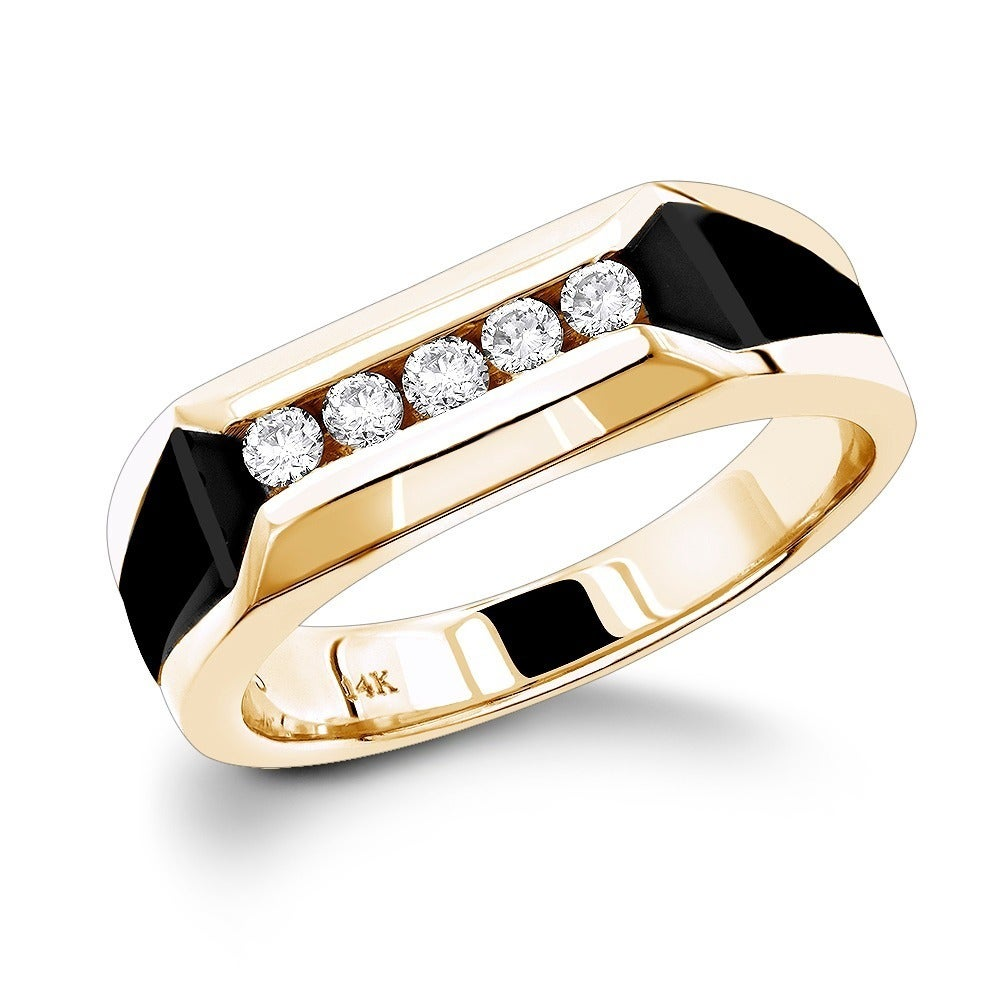 Diamond And Onyx Wedding Ring On Free Shipping Today 12008779