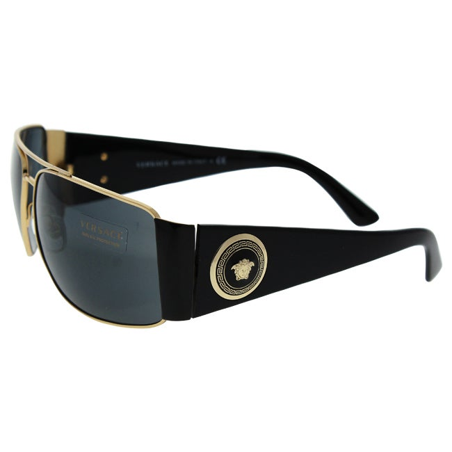 066601d7924 Shop Versace Men s VE2163 100287 Gold Metal Rectangle Sunglasses - Free  Shipping Today - Overstock - 12009364