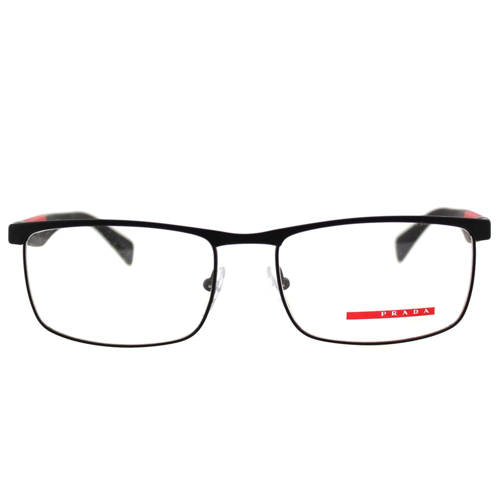2e98b40007bb Shop Prada Men s PS 54FV DG01O1 Linea Rossa Black Rubber and Metal Rectangle  Eyeglasses - Free Shipping Today - Overstock - 12011166