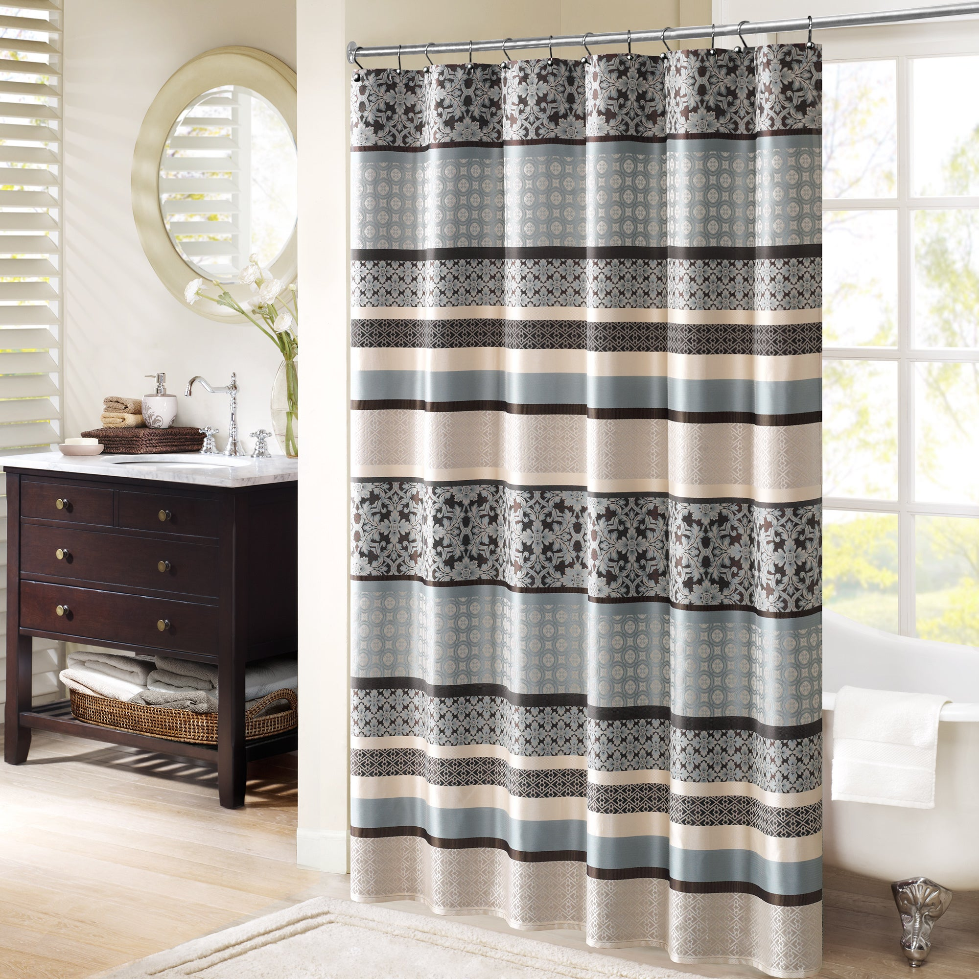 Shop Madison Park Harvard Jacquard Shower Curtain 2 Color Option
