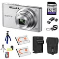Sony DSC-W830 20MP Silver Camera Bundle