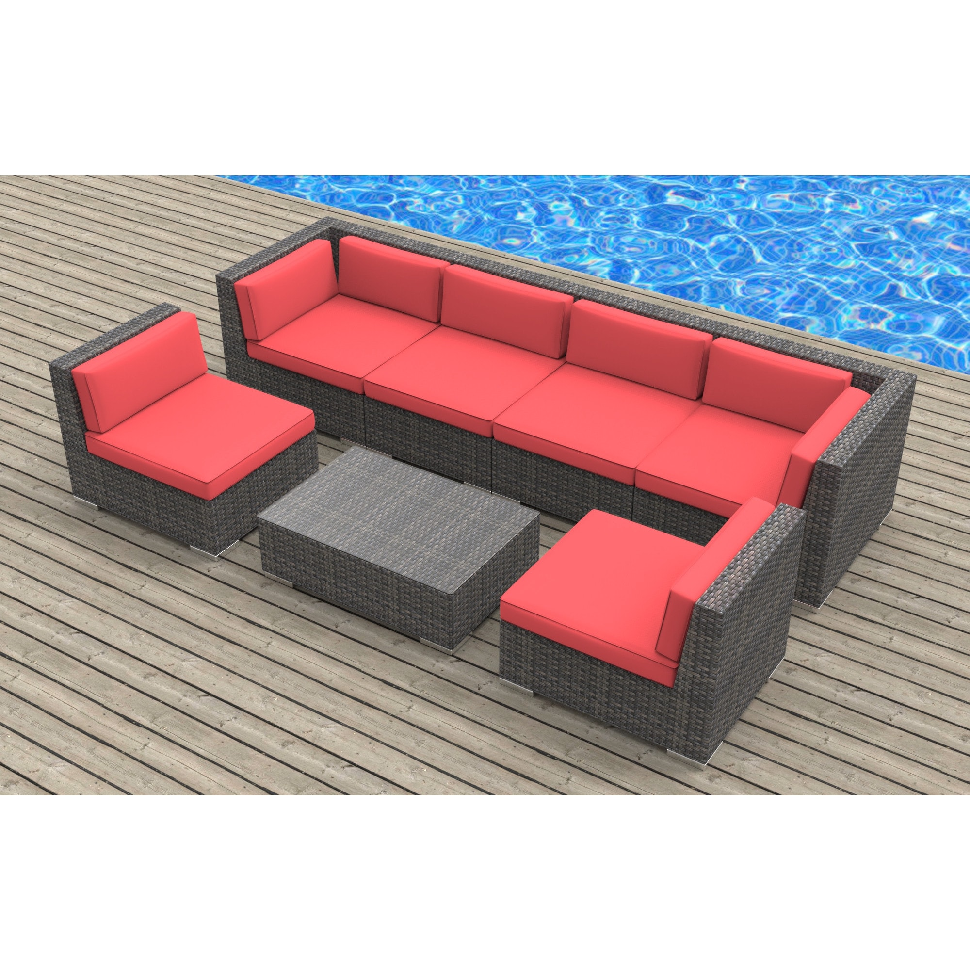 Urban Furnishing Oahu Wicker Rattan 7 Piece Sectional Sofa Outdoor Patio Furniture Set On Free Shipping Today 12017794