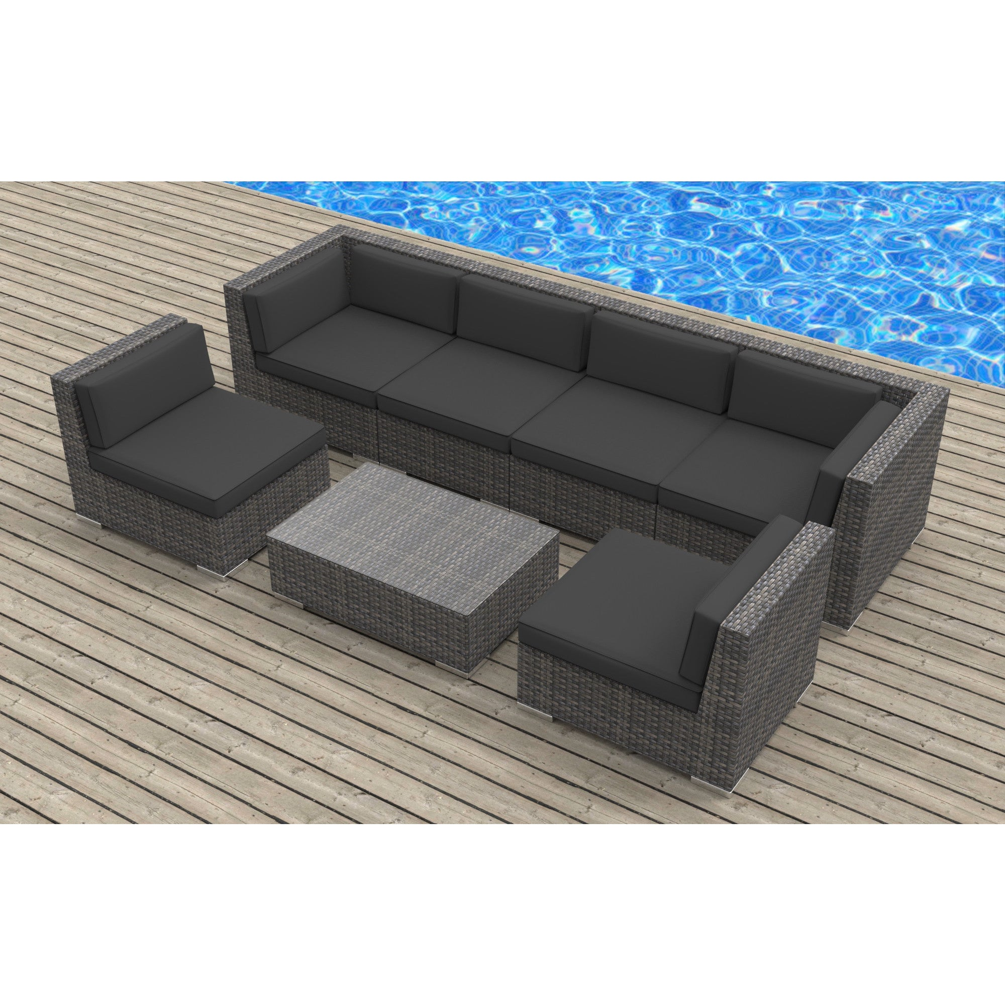 Urban Furnishing Oahu Wicker Rattan 7 piece Sectional Sofa Outdoor