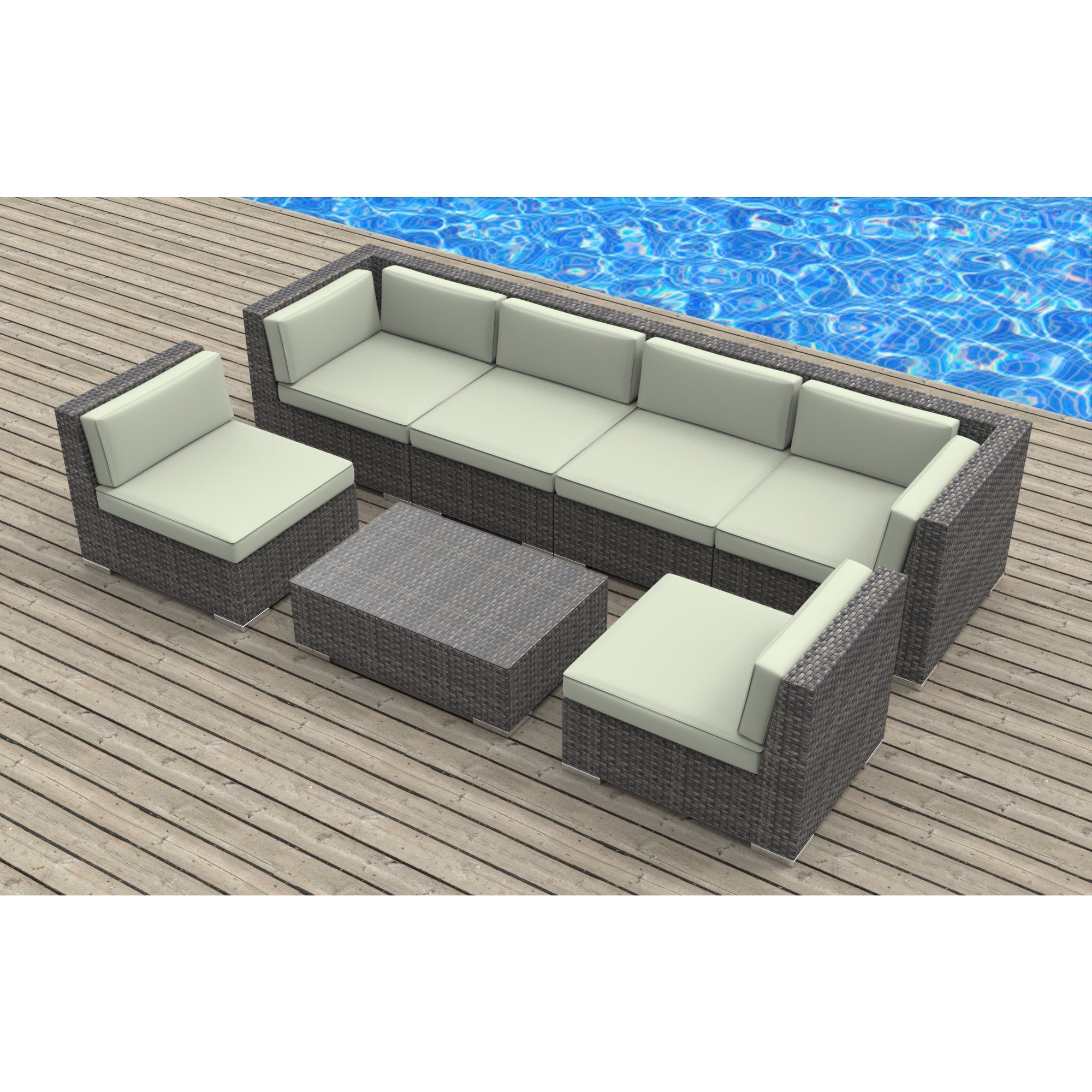 Gentil Shop Urban Furnishing Oahu Wicker/Rattan 7 Piece Sectional Sofa Outdoor  Patio Furniture Set   Free Shipping Today   Overstock.com   12014794