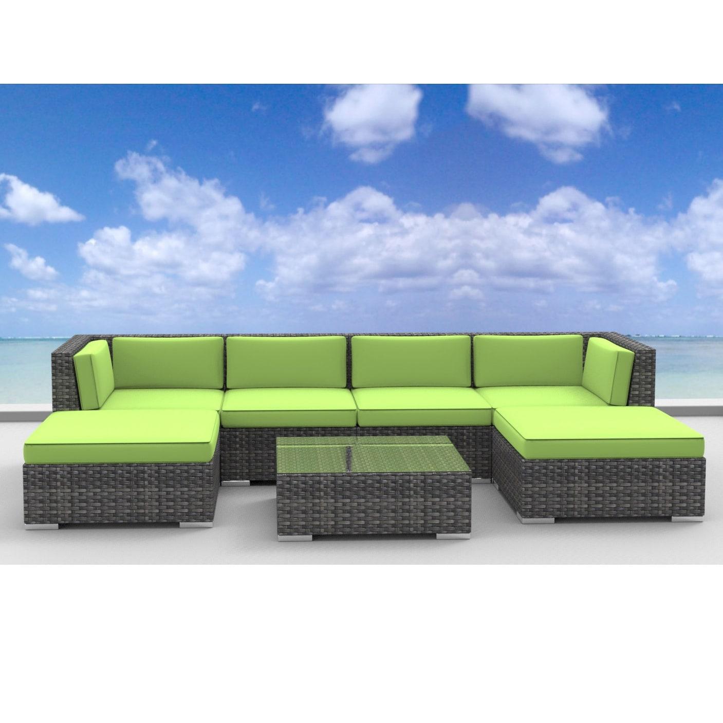 Urban Furnishing Maui Rattan 7 Piece Outdoor Sectional Sofa Patio Furniture Set