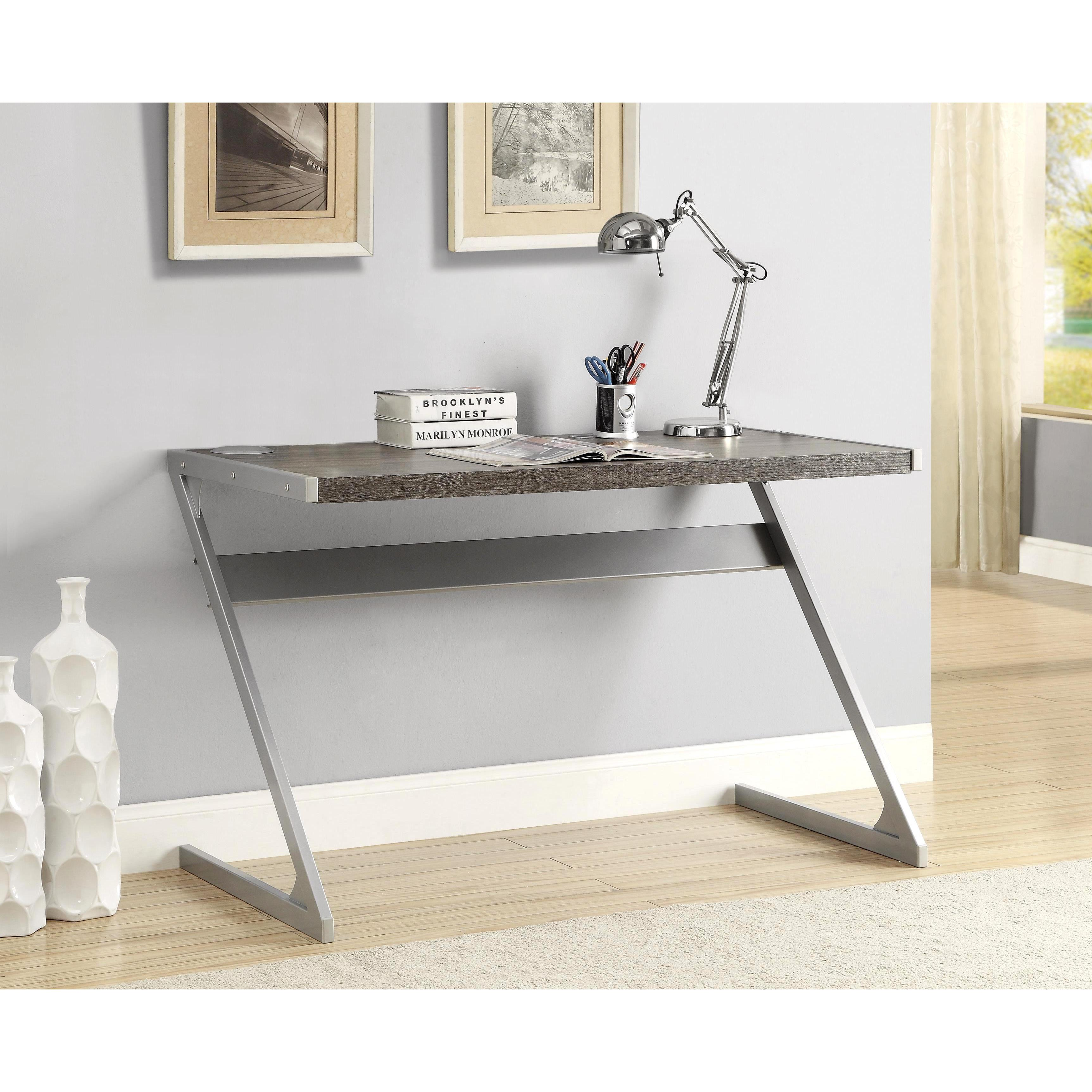 Sleek Modern Z Style Weathered Grey Writing Computer Desk With Bluetooth Speakers Free Shipping Today 18891961