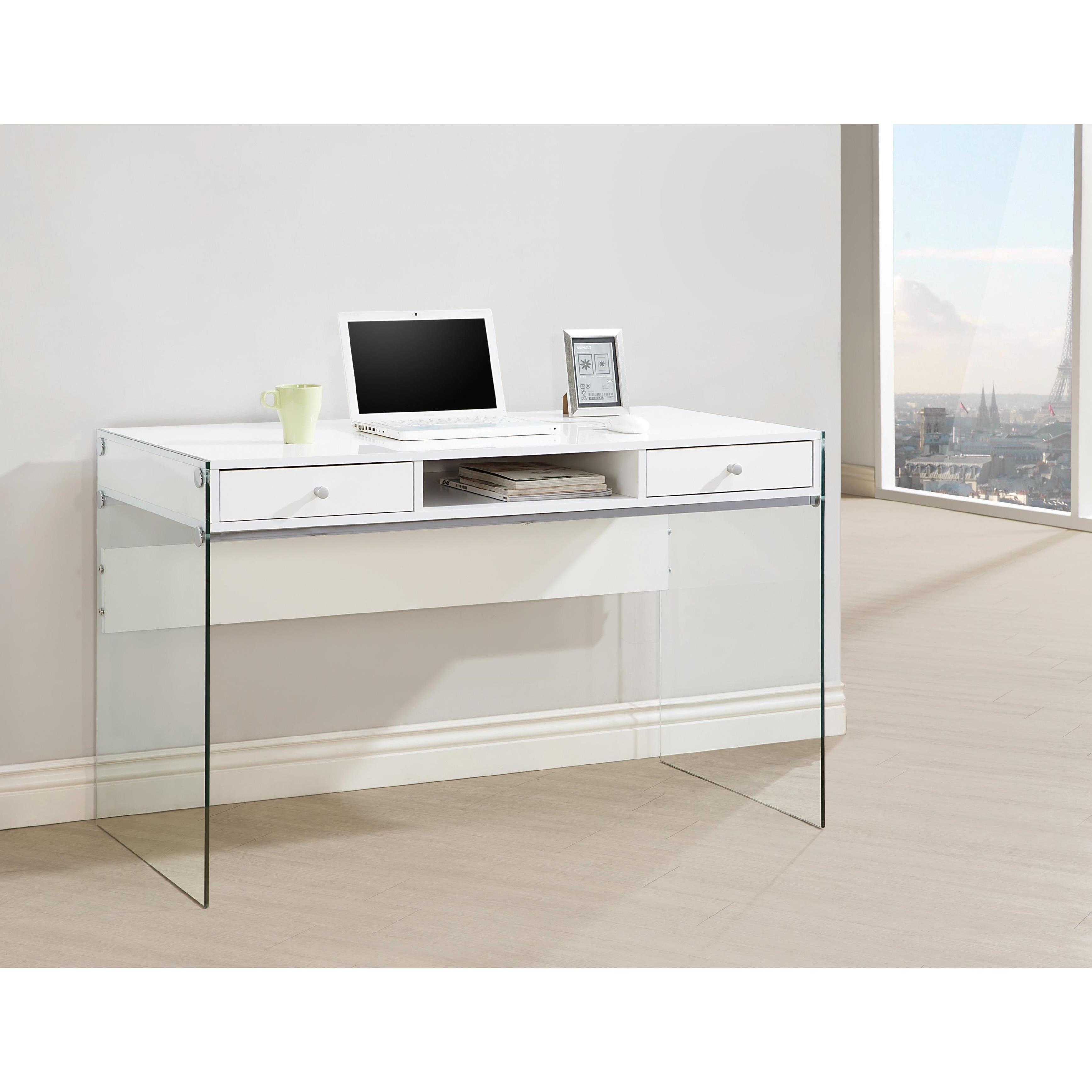 shop contemporary modern style glass home office glossy white rh overstock com glass writing desk for sale glass writing desk with drawers