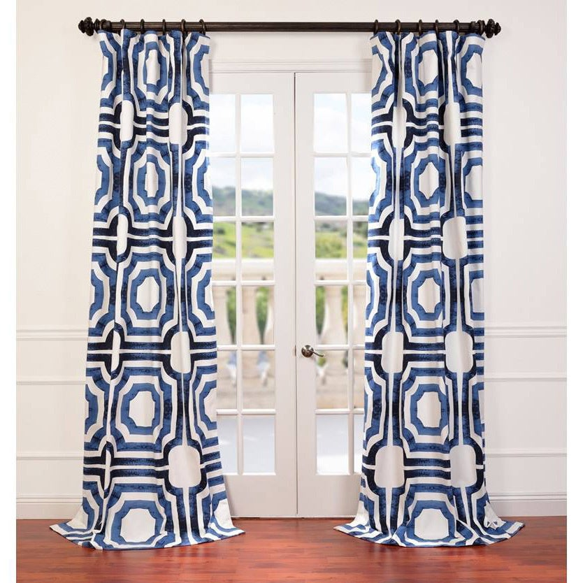 Exclusive Fabrics Mecca Printed Cotton Curtain Panel 96 In Blue As Is Item
