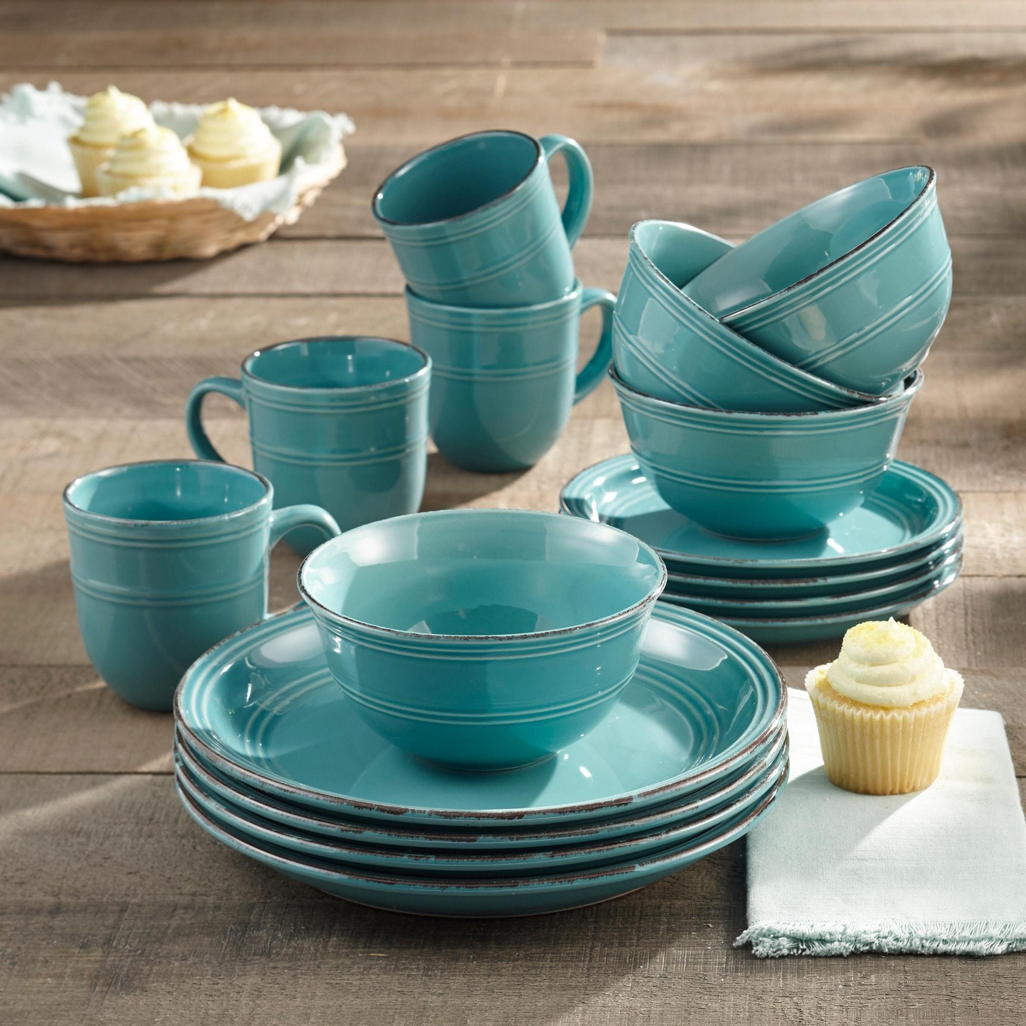 American Atelier Madelyn Aqua-blue Earthenware 16-piece Dinnerware Set - Free Shipping Today - Overstock - 18894080 & American Atelier Madelyn Aqua-blue Earthenware 16-piece Dinnerware ...