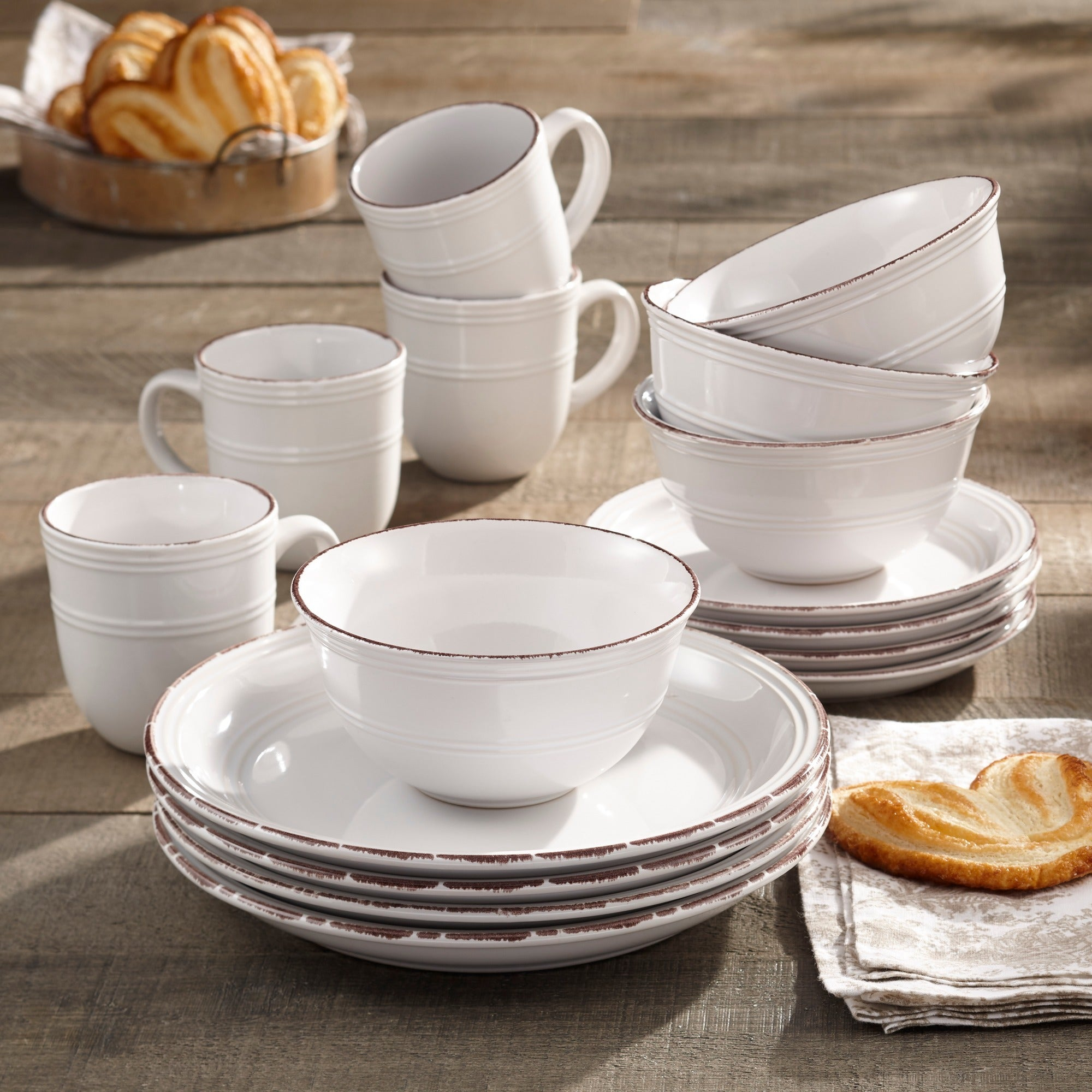 American Atelier Madelyn White Earthenware 16-piece Dinnerware Set - Free Shipping Today - Overstock.com - 18894081 & American Atelier Madelyn White Earthenware 16-piece Dinnerware Set ...