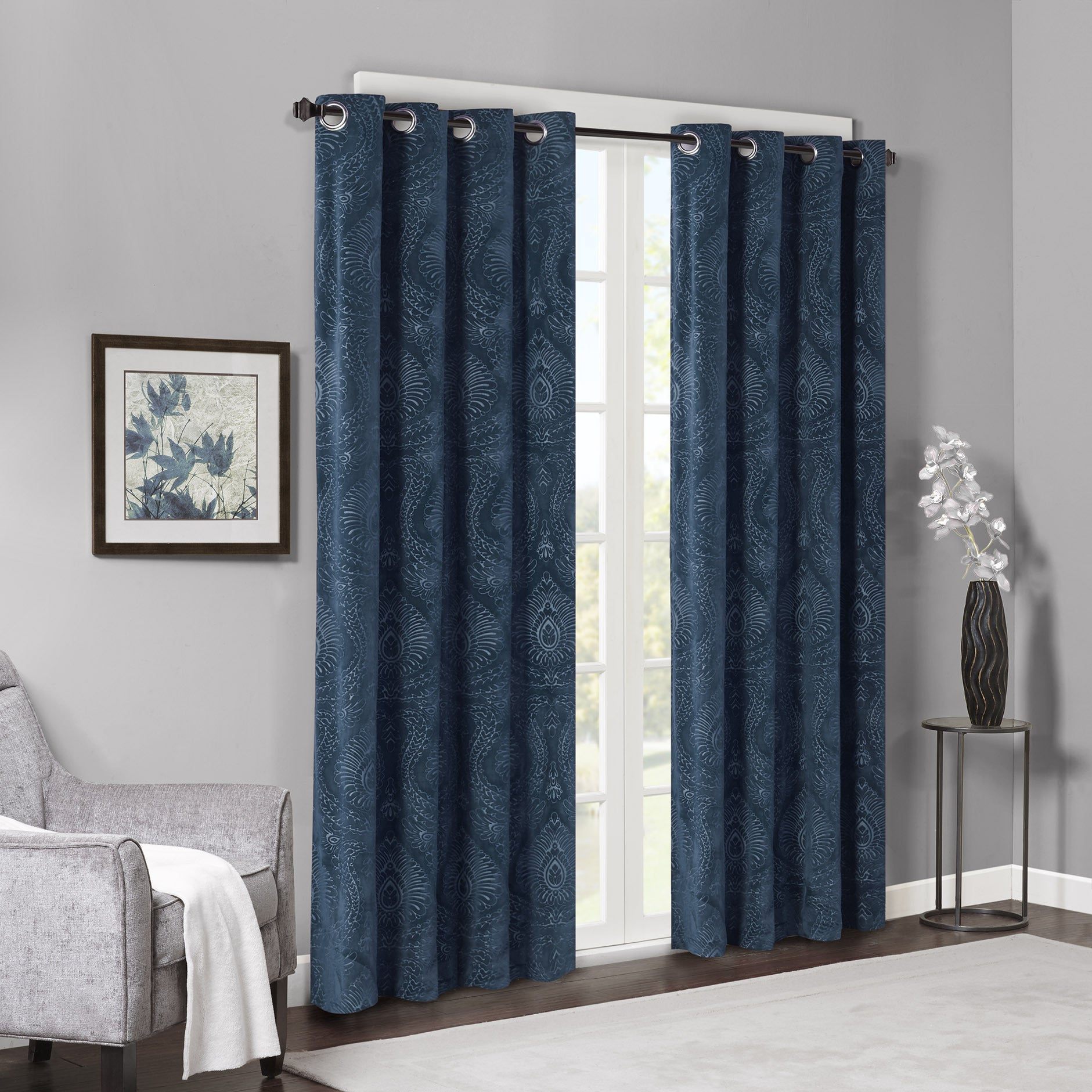 Shop Madison Park Cecil Embossed Damask Velvet Curtain Panel - On ...