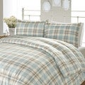 Laura Ashley Cranbourne Plaid Flannel 3-piece Duvet Cover Set