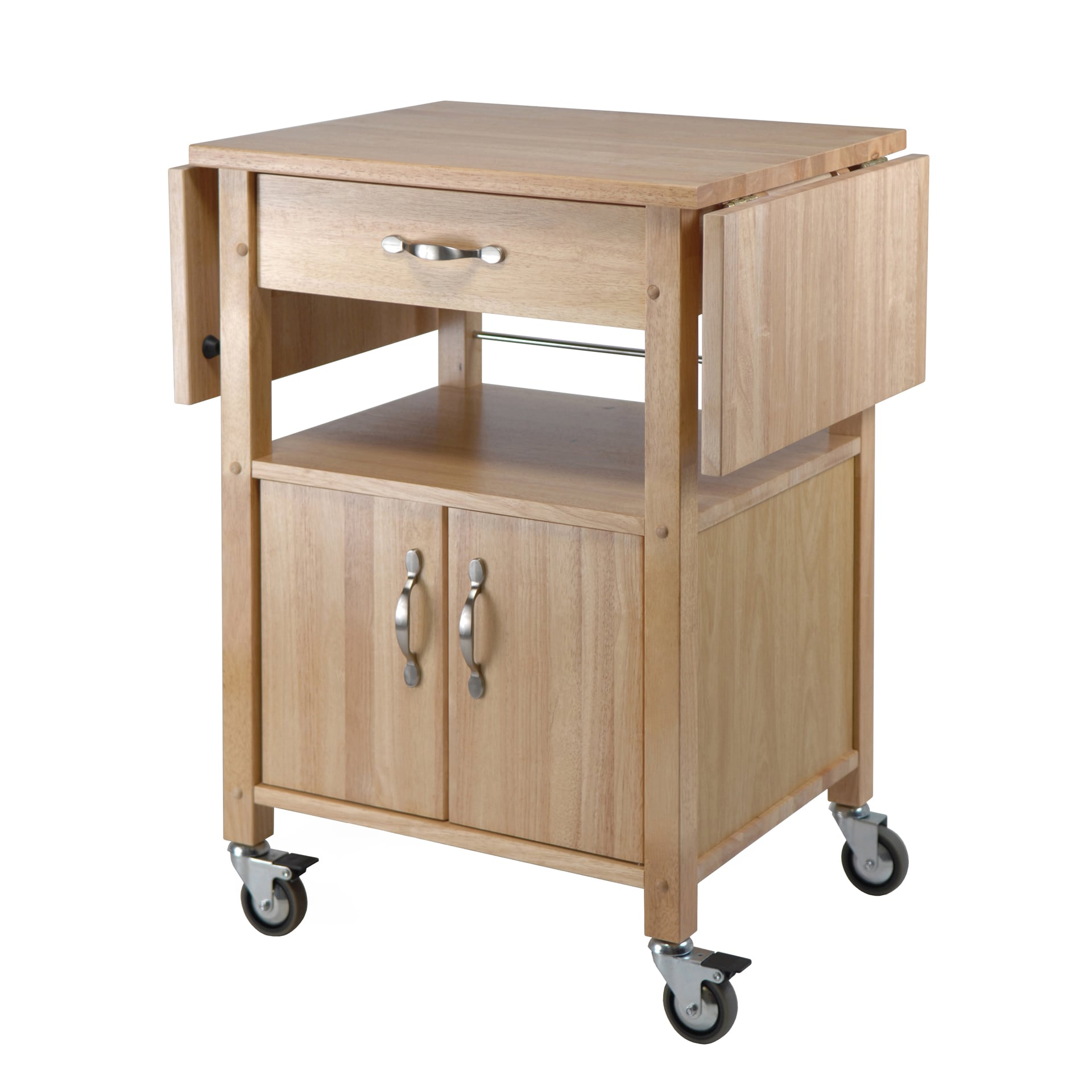 Shop winsome wooden double drop leaf kitchen cart cabinet with shelf free shipping today overstock com 12021183