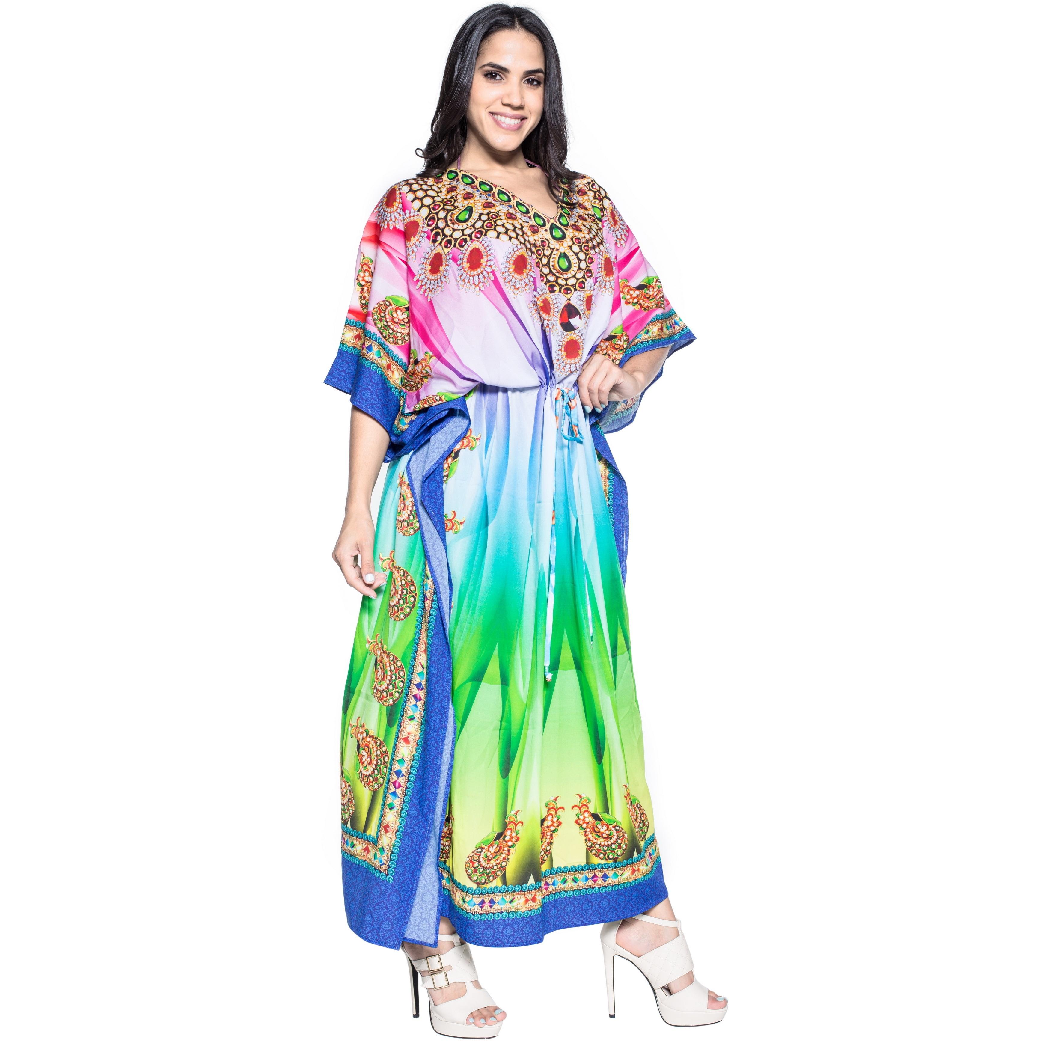 ab97cc4adbc6a Shop La Leela Soft Likre Vintage Nouveau Long Beach Evening Dress Kimono  Kaftan Green - Free Shipping On Orders Over  45 - Overstock - 12021226