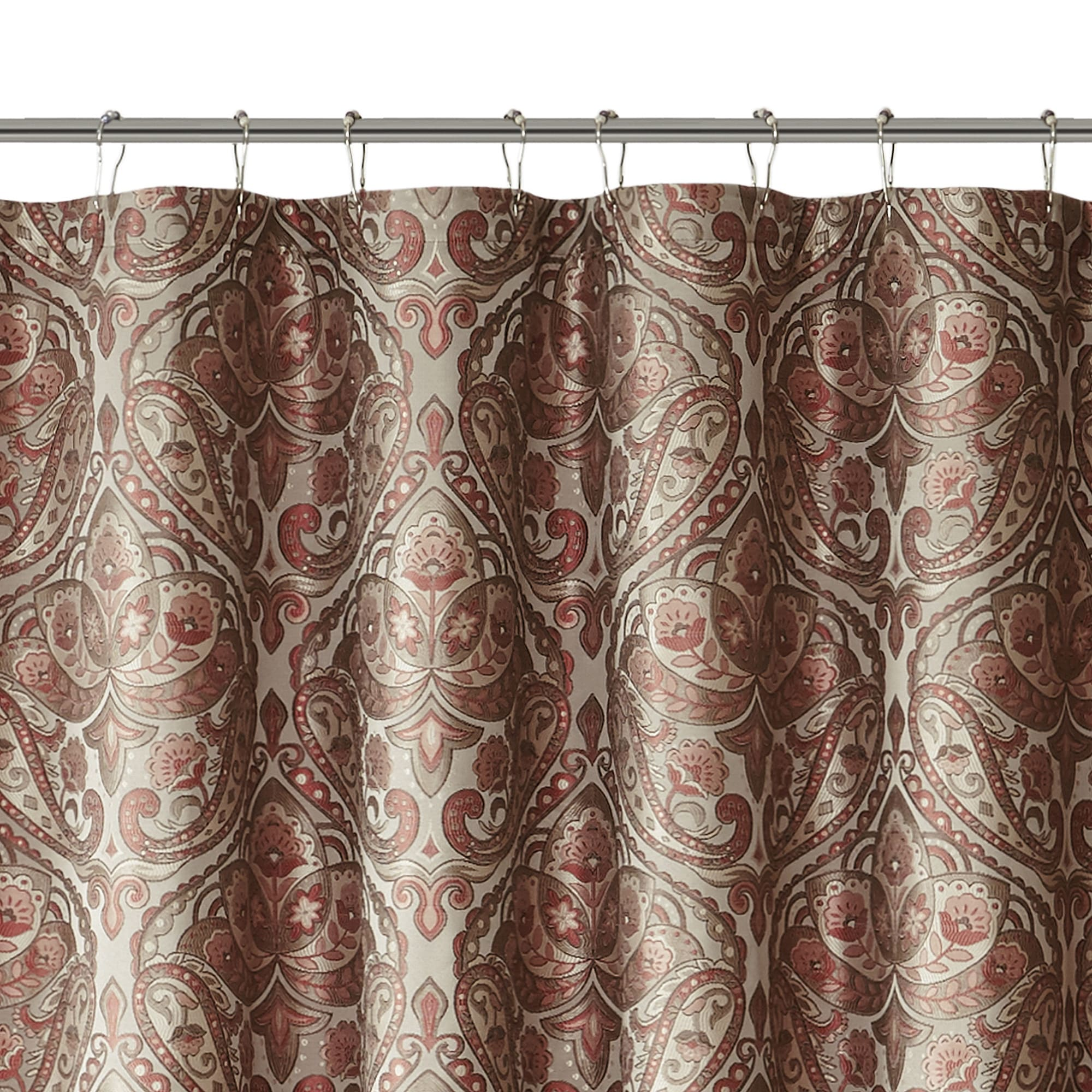 Madison Park Preston Red Brown Jacquard Shower Curtain