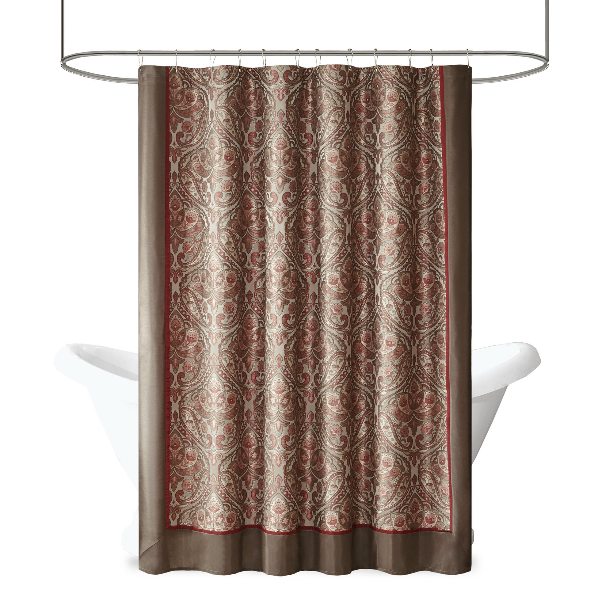 Shop Madison Park Preston Redbrown Jacquard Shower Curtain Free