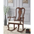 Sheim Beige Fabric and Cherry Wood Rocking Chair