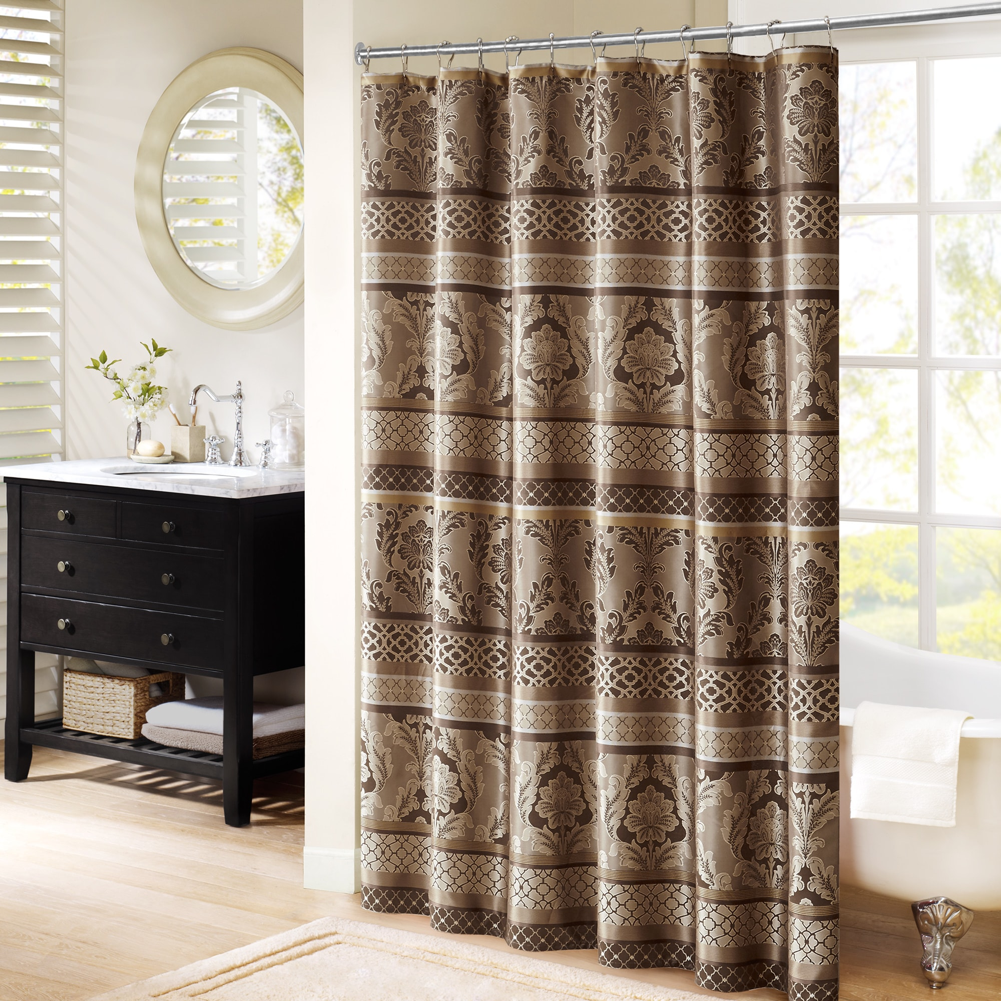 taupe curtain in shower p bay fabric dobby curtains taup glacier