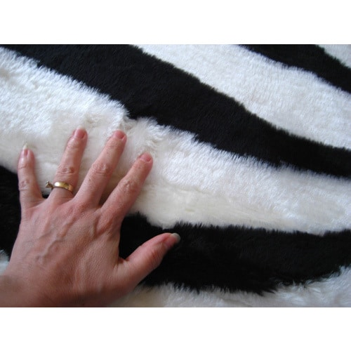 Faux Zebra Skin Round Rug 4 7 Free Shipping Today Com 18896699