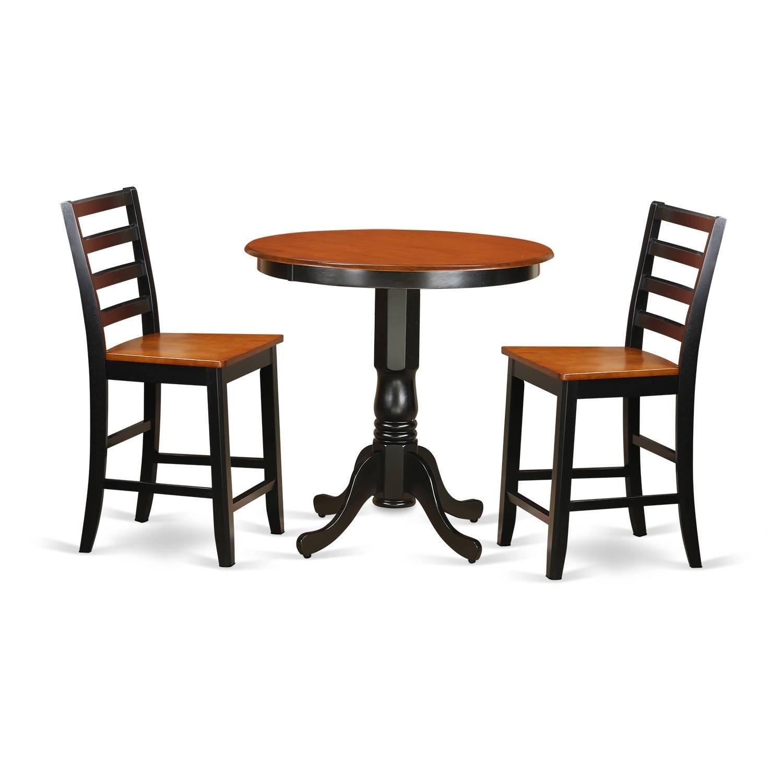 JAFA3-BLK-W 3-piece Counter-height Kitchen Table Set