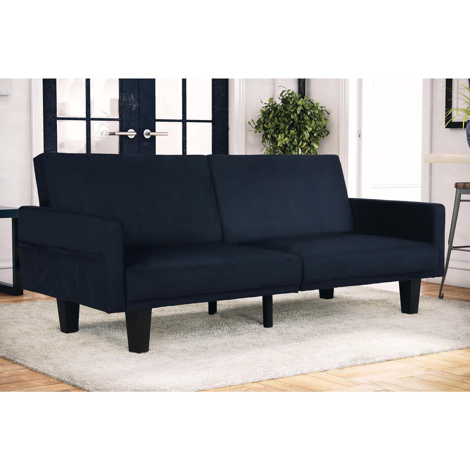 Dhp Metro Navy Blue Microfiber Futon With Storage Pockets On Free Shipping Today Com 12023079