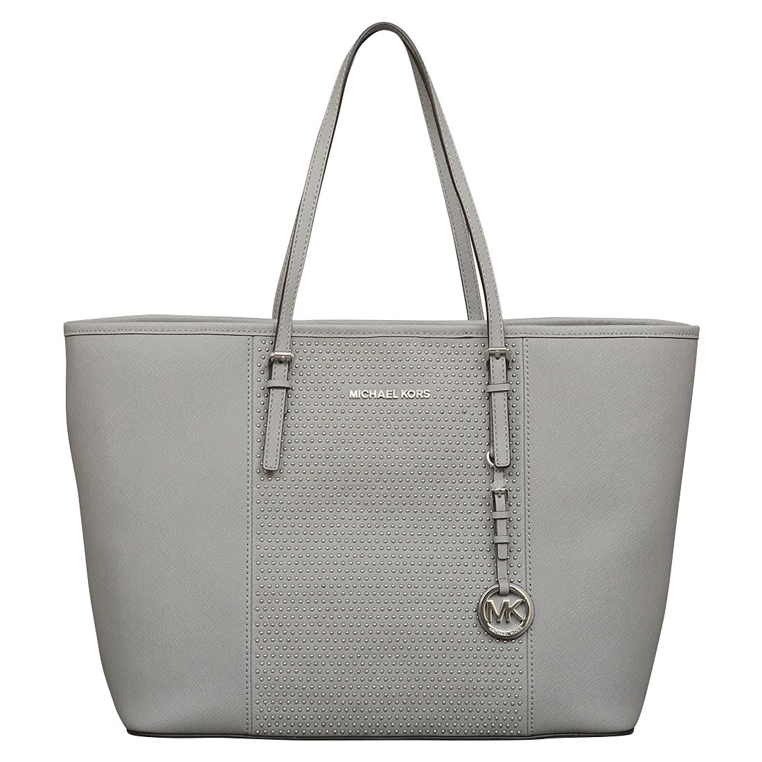 a2fb257c4c56 Shop Michael Kors Medium Microstud Center Stripe Pearl Grey Travel Tote Bag  - Free Shipping Today - Overstock - 12023449