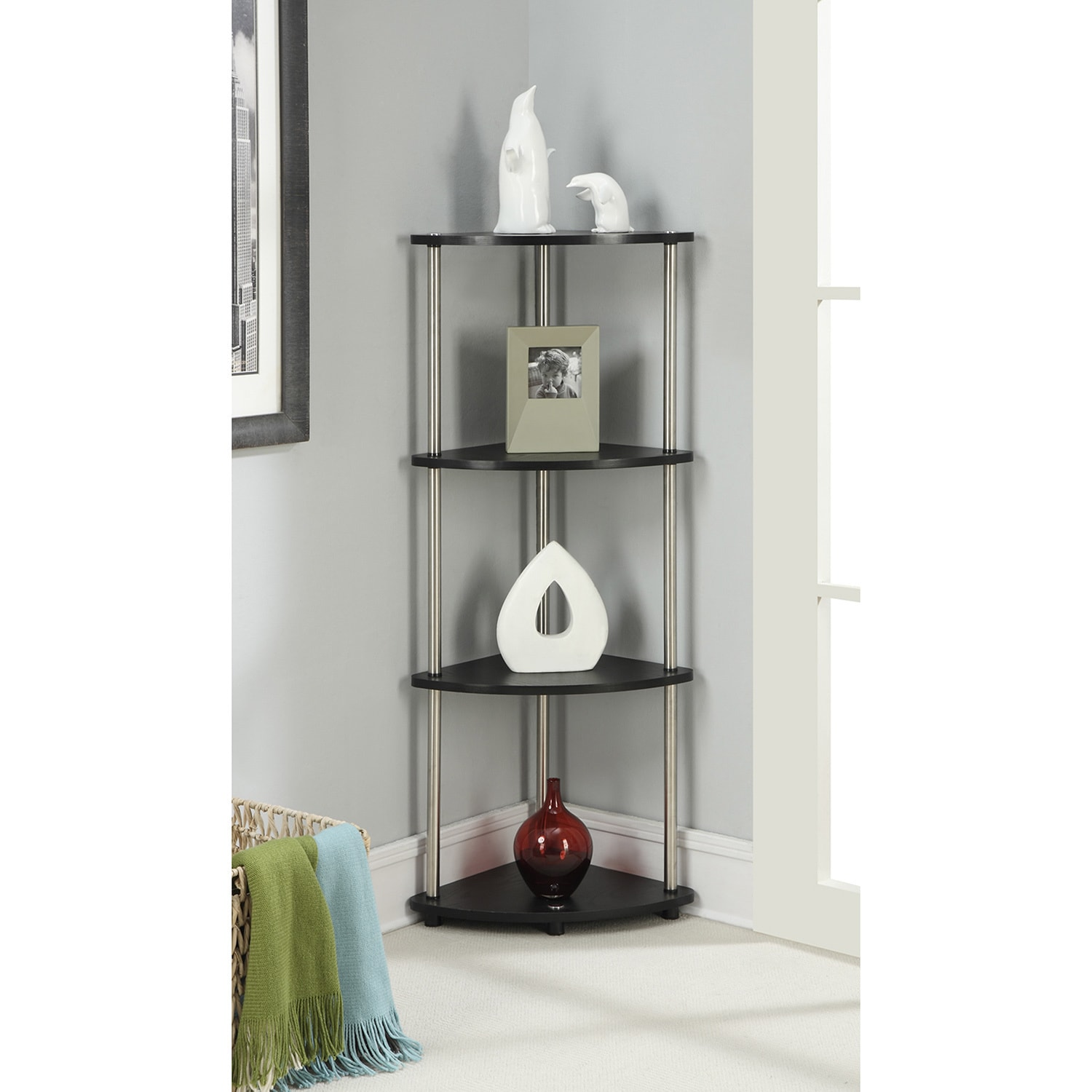 Convenience Concepts Designs2Go Black Steelwood 4 Tier Corner Shelf  Free