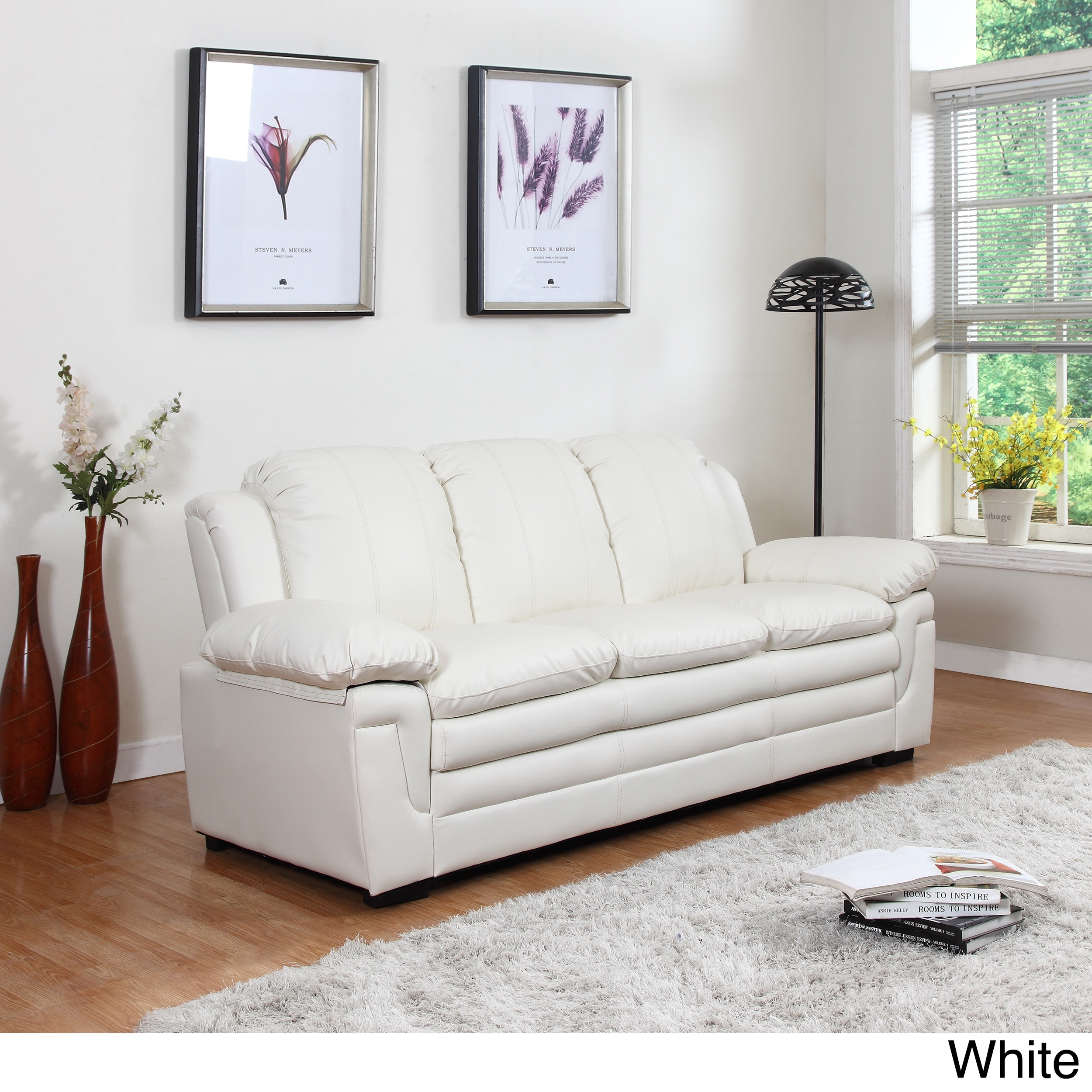 Shop Classic Bonded Leather Living Room Sofa with White Stitch ...