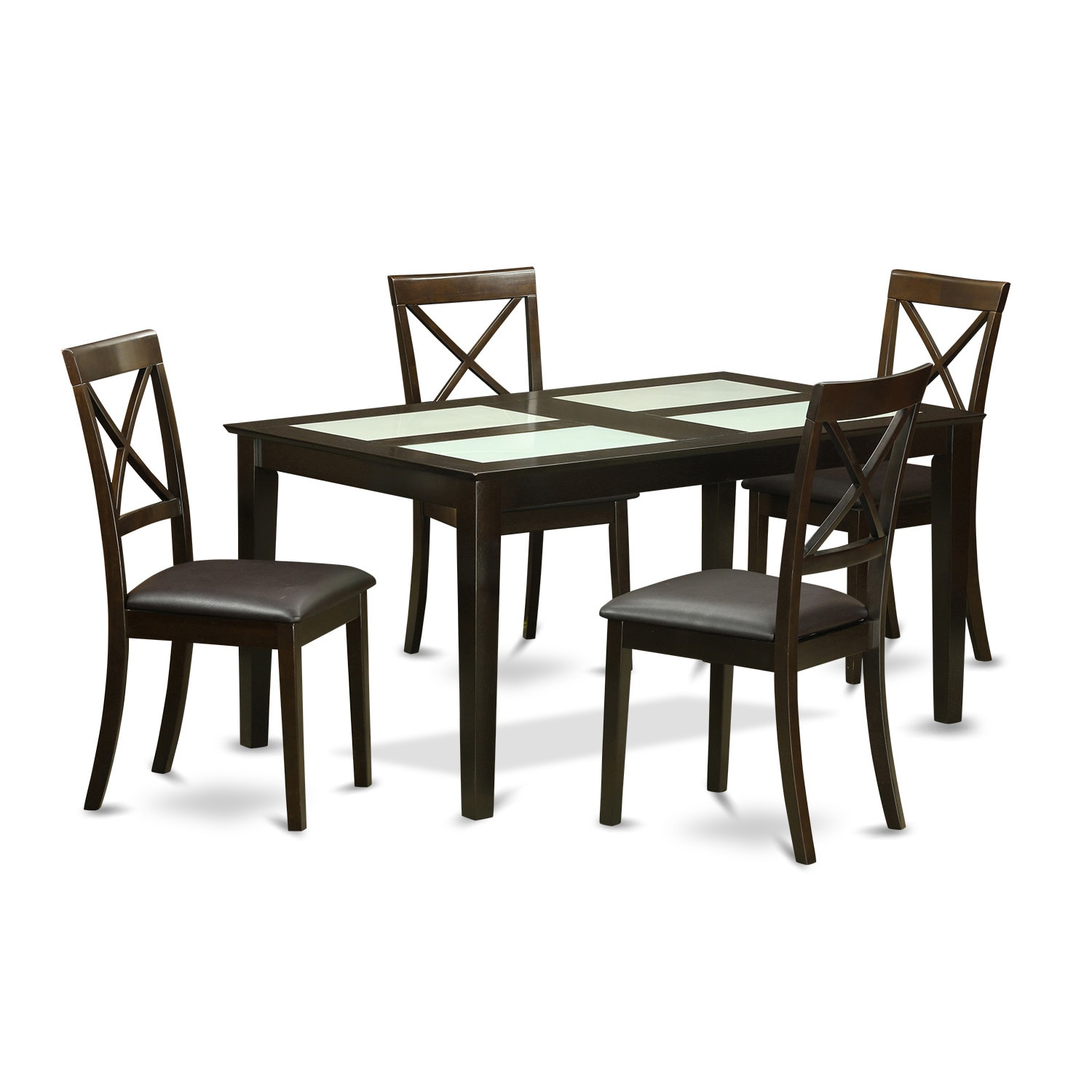 Shop modern black finish solid rubberwood 5 piece dining set with capri table and 4 dining chairs free shipping today overstock com 12026030