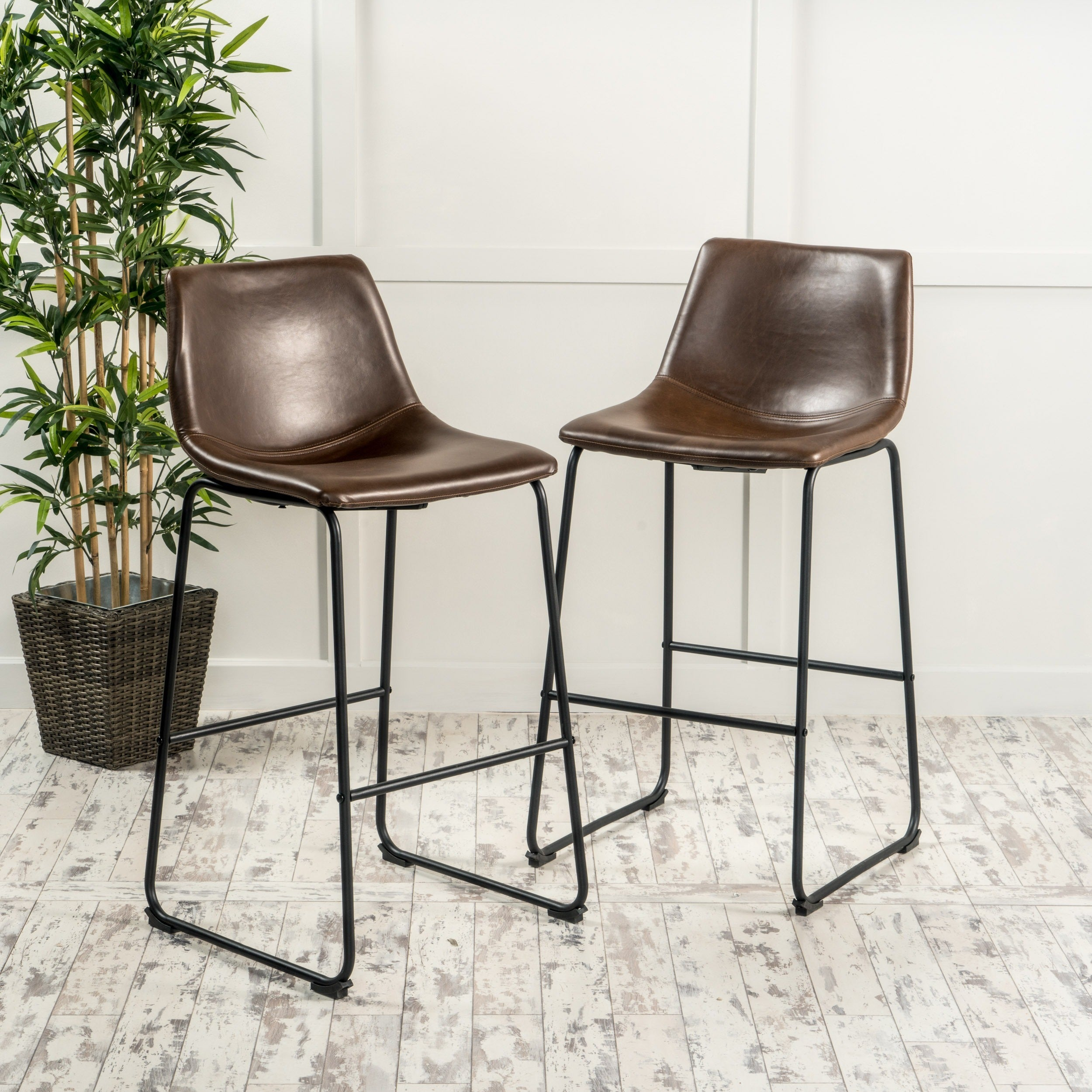 faux leather bar stools. Cedric 30-inch Faux Leather Barstool (Set Of 2) By Christopher Knight Home - Free Shipping Today Overstock 18900817 Bar Stools I