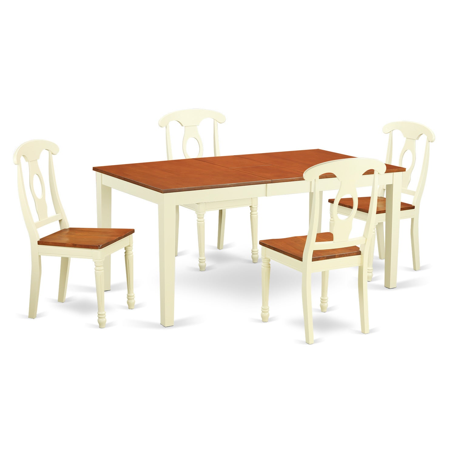 Shop traditional white finish solid rubberwood 5 piece dining set with nicoli table and four kenley chairs free shipping today overstock com 12027427
