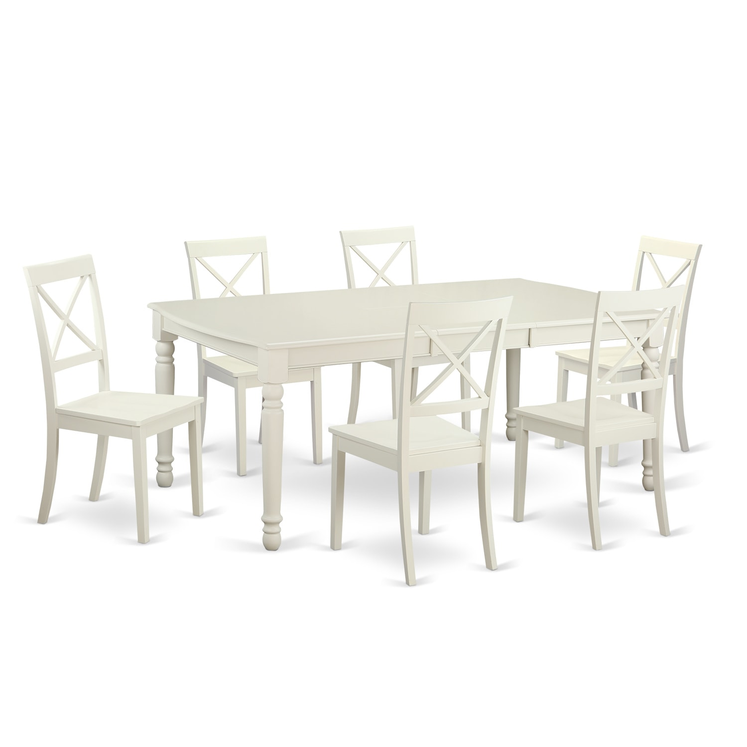Shop traditional white finish solid rubberwood 7 piece dining set with dover table and six boston chairs free shipping today overstock com 12027441