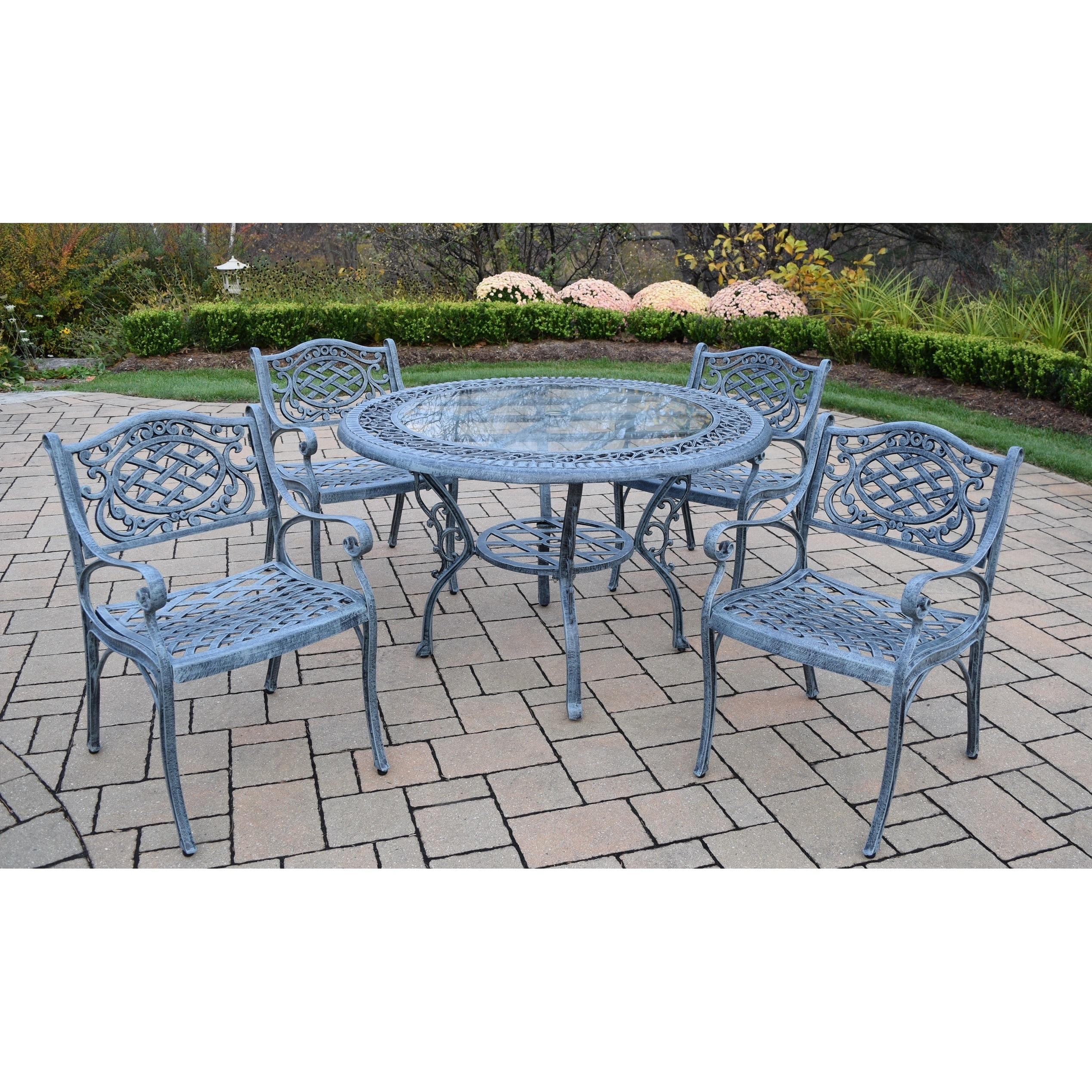Shop Piece Patio Dining Set With Inch Round Table And Arm - 48 inch outdoor table