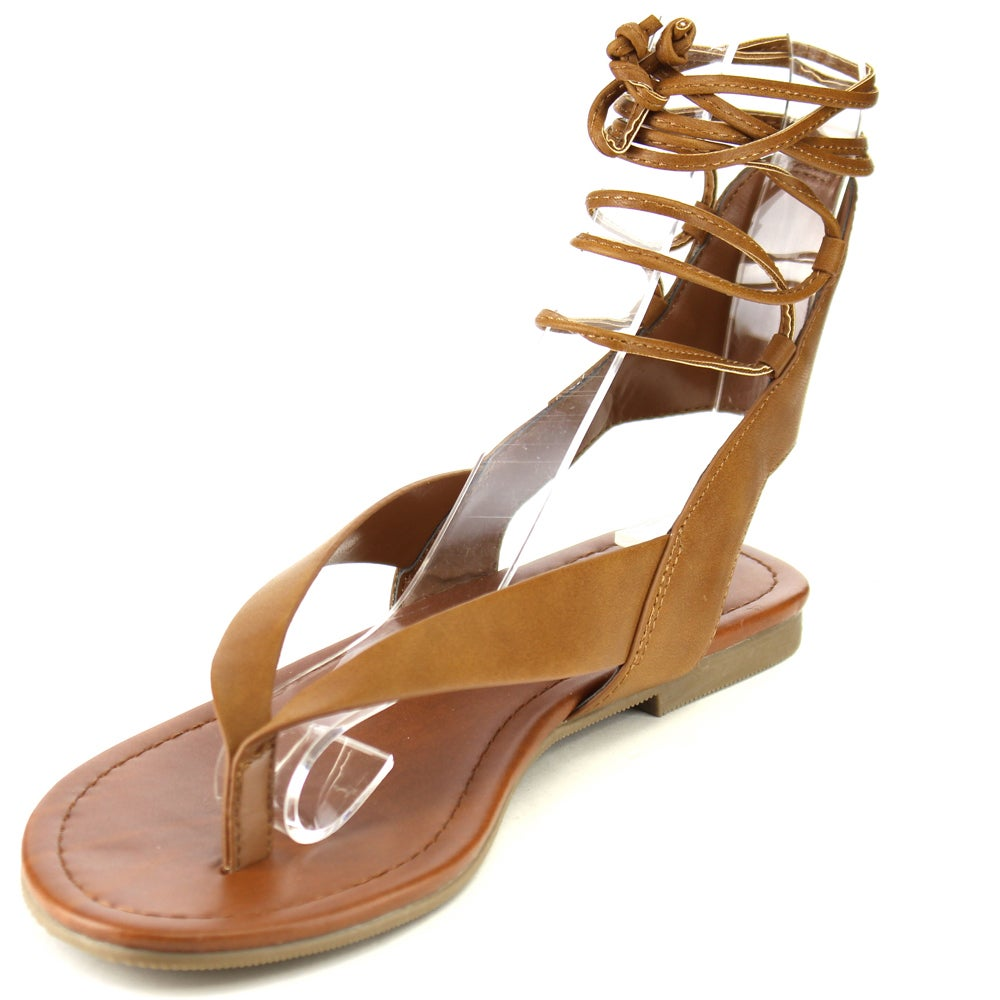 3a4327aeef81e Shop Soda Women s IA41 Strappy Cut-out Back Lace-up Thong Sandals - Free  Shipping On Orders Over  45 - Overstock - 12028178