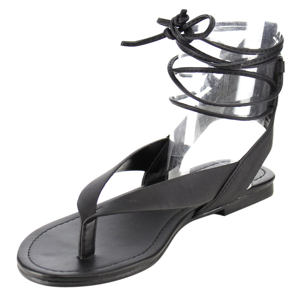 d51df35c7 Shop Soda Women s IA41 Strappy Cut-out Back Lace-up Thong Sandals - Free  Shipping On Orders Over  45 - Overstock - 12028178