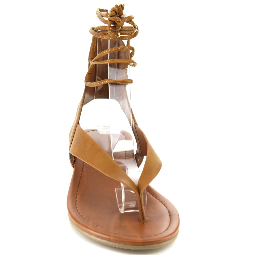 a8cdb446f65287 Shop Soda Women s IA41 Strappy Cut-out Back Lace-up Thong Sandals - Free  Shipping On Orders Over  45 - Overstock - 12028178