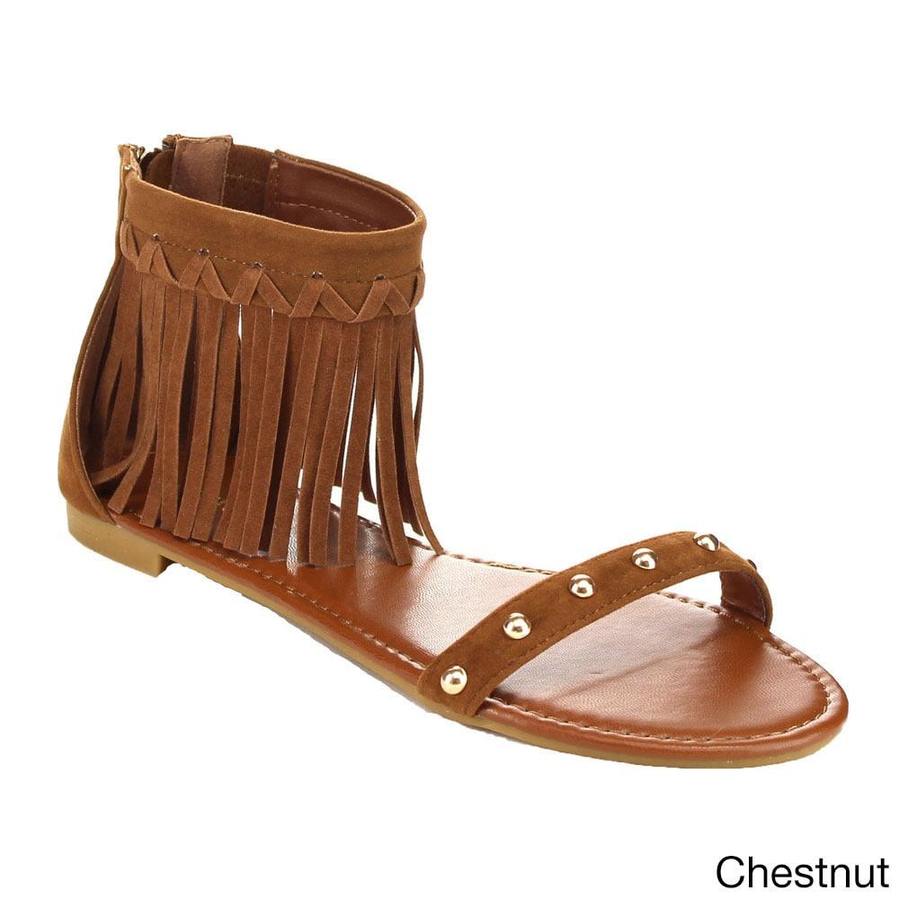 629ef3bda74 Bamboo Women's CANDICE-53M Tan/Black Faux Suede Single-band Fringe Ankle  Strap Closed-back Flat Sandals