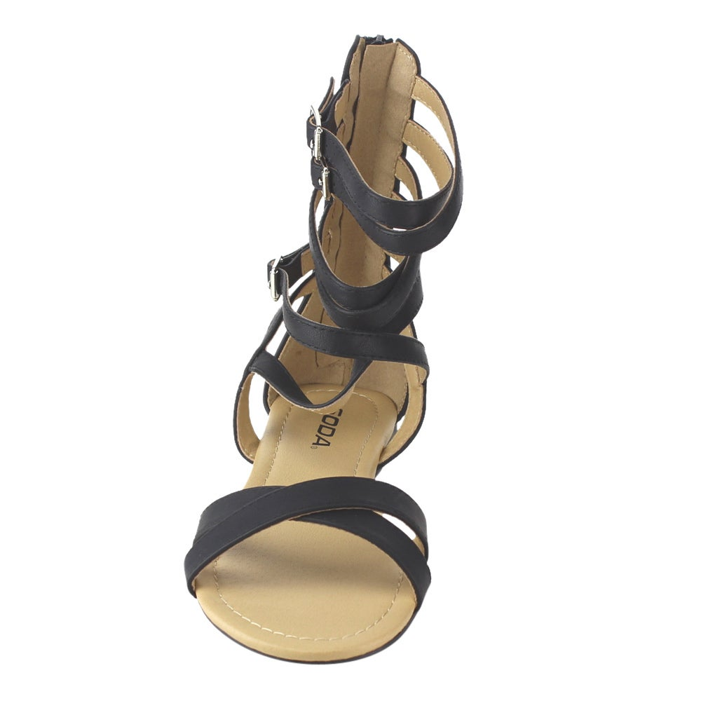 d8cd9a07048 Shop Soda Women s IB66 Gladiator Criss Cross Strappy Back Zipper Flat  Sandals - Free Shipping On Orders Over  45 - Overstock - 12028246
