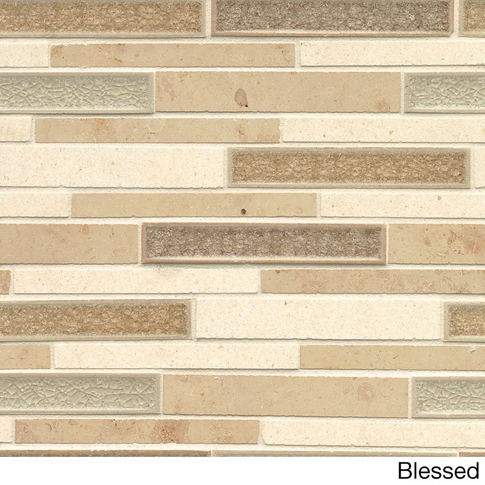 Kismet Collection Tan Gl And Stone Tile Box Of 10 Sheets Free Shipping Today 18904778