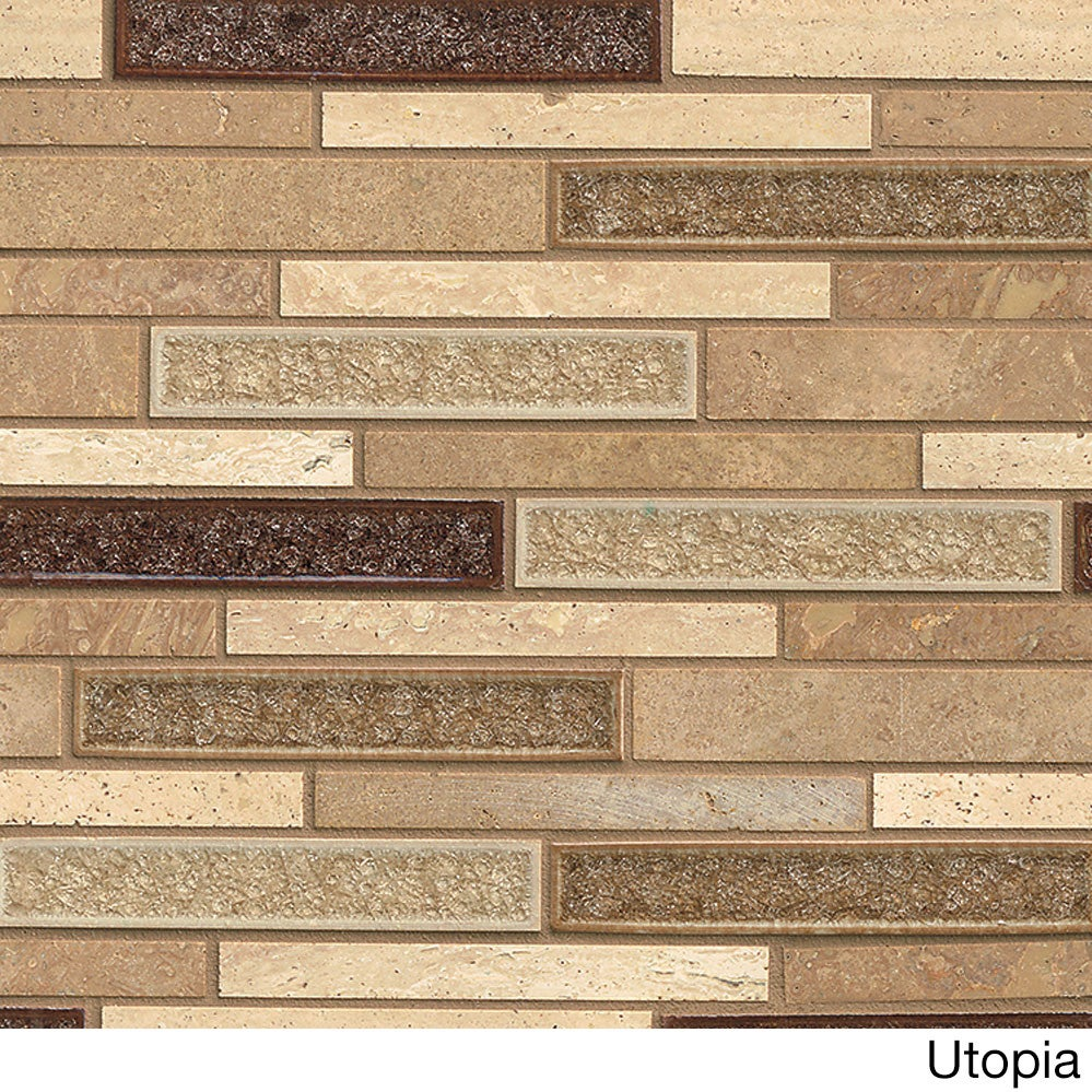 Shop Kismet Collection Tan Glass and Stone Tile (Box of 10 Sheets ...