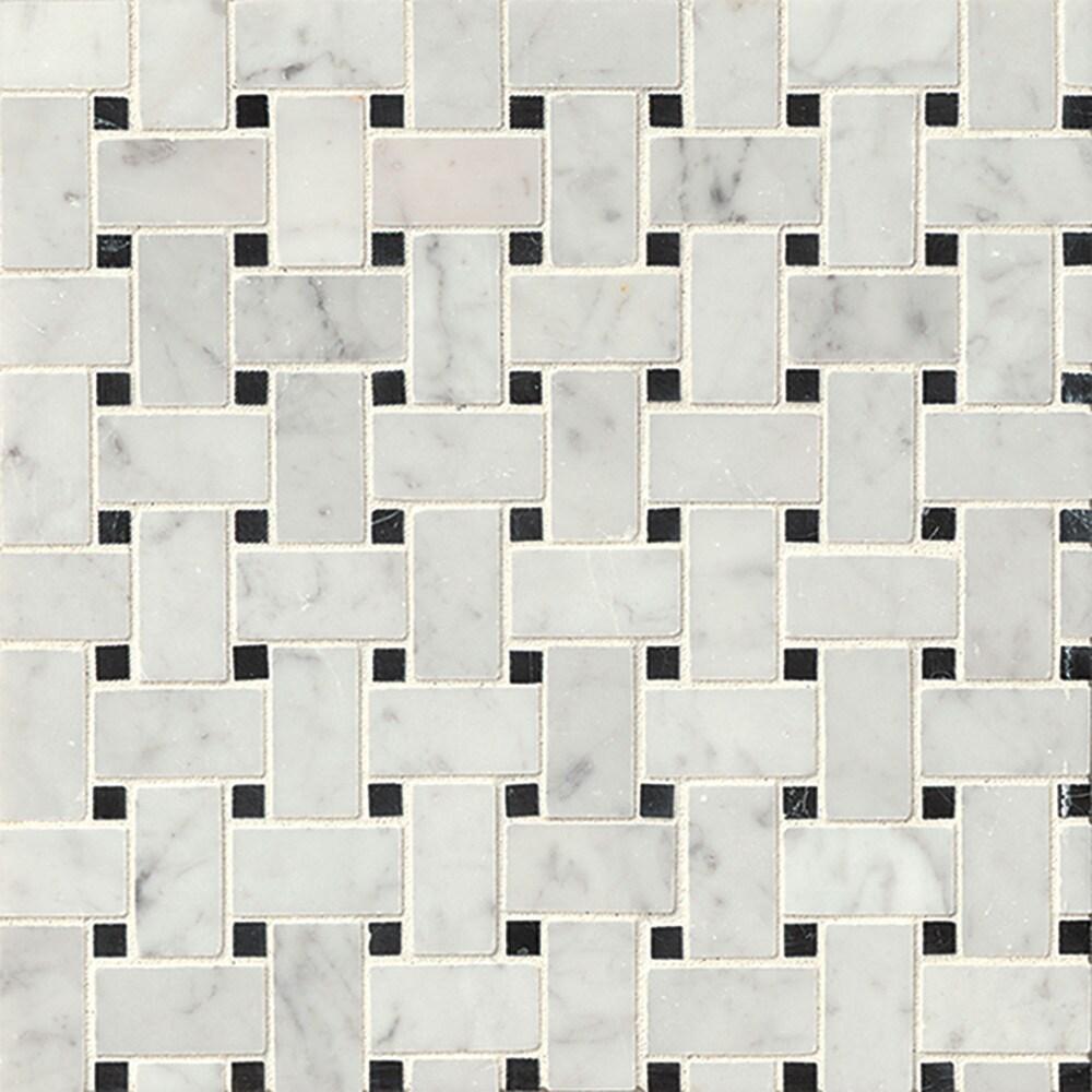 Bedrosians Basket Weave Grey Mosaic Stone Tile (Box of 10 Sheets ...