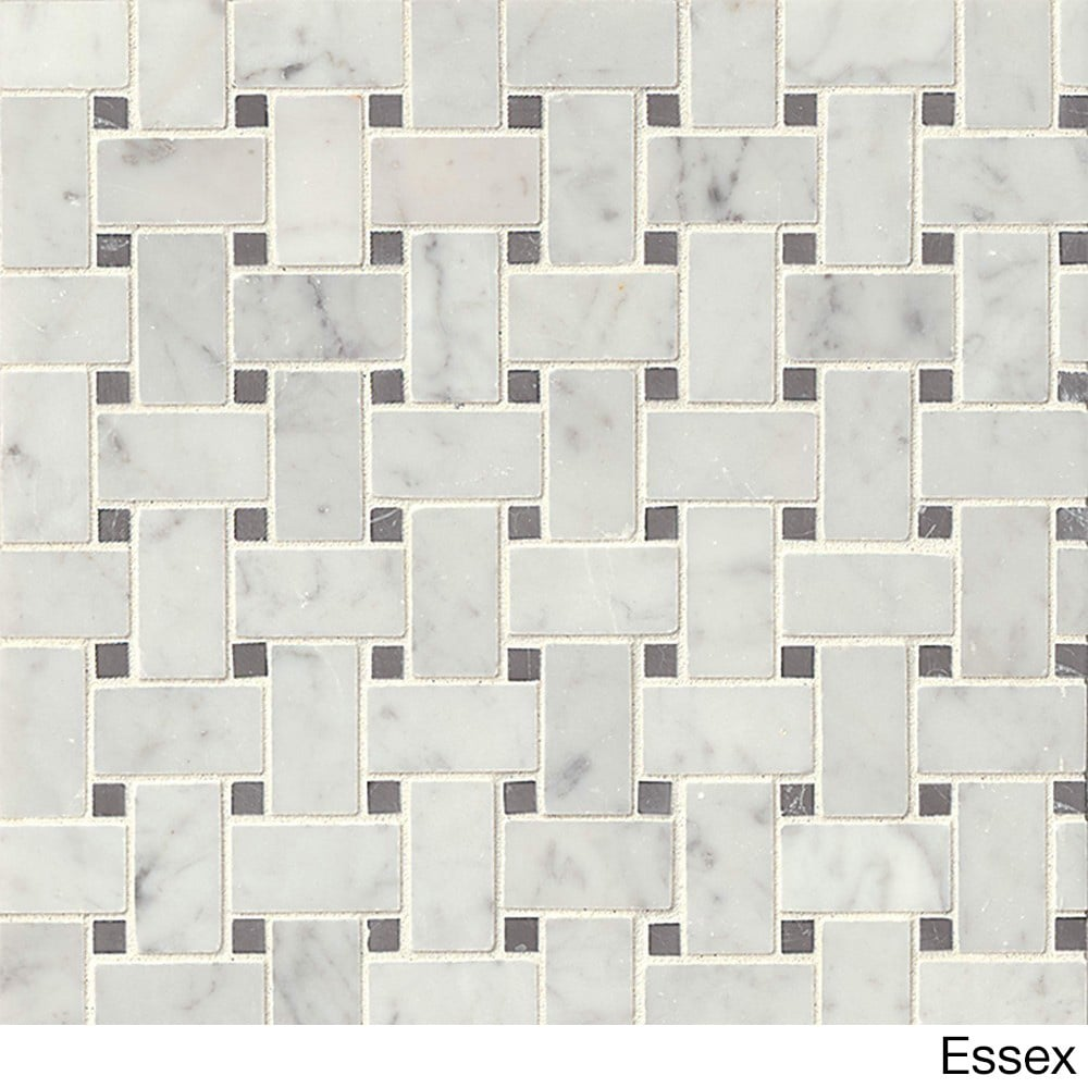 Bedrosians Basket Weave Grey Mosaic Stone Tile (Box of 10 Sheets ...